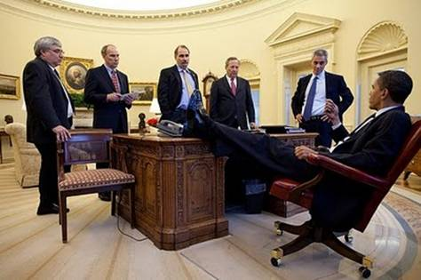 presidents feet on desk