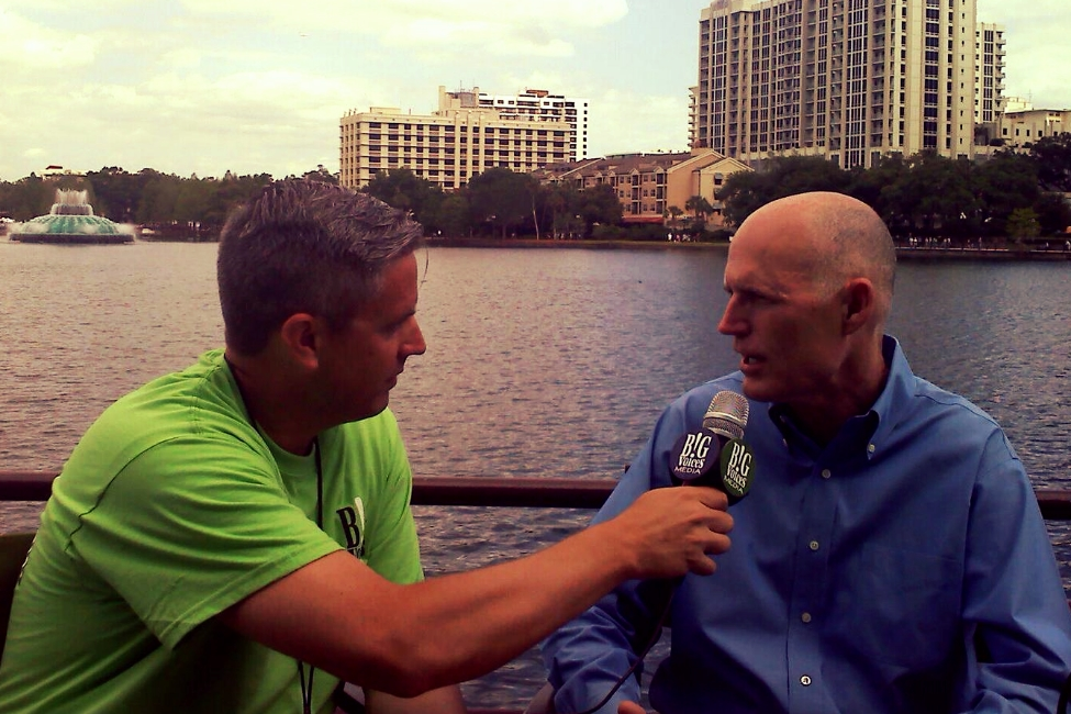Interviewing Governor Rick Scott of Florida.
