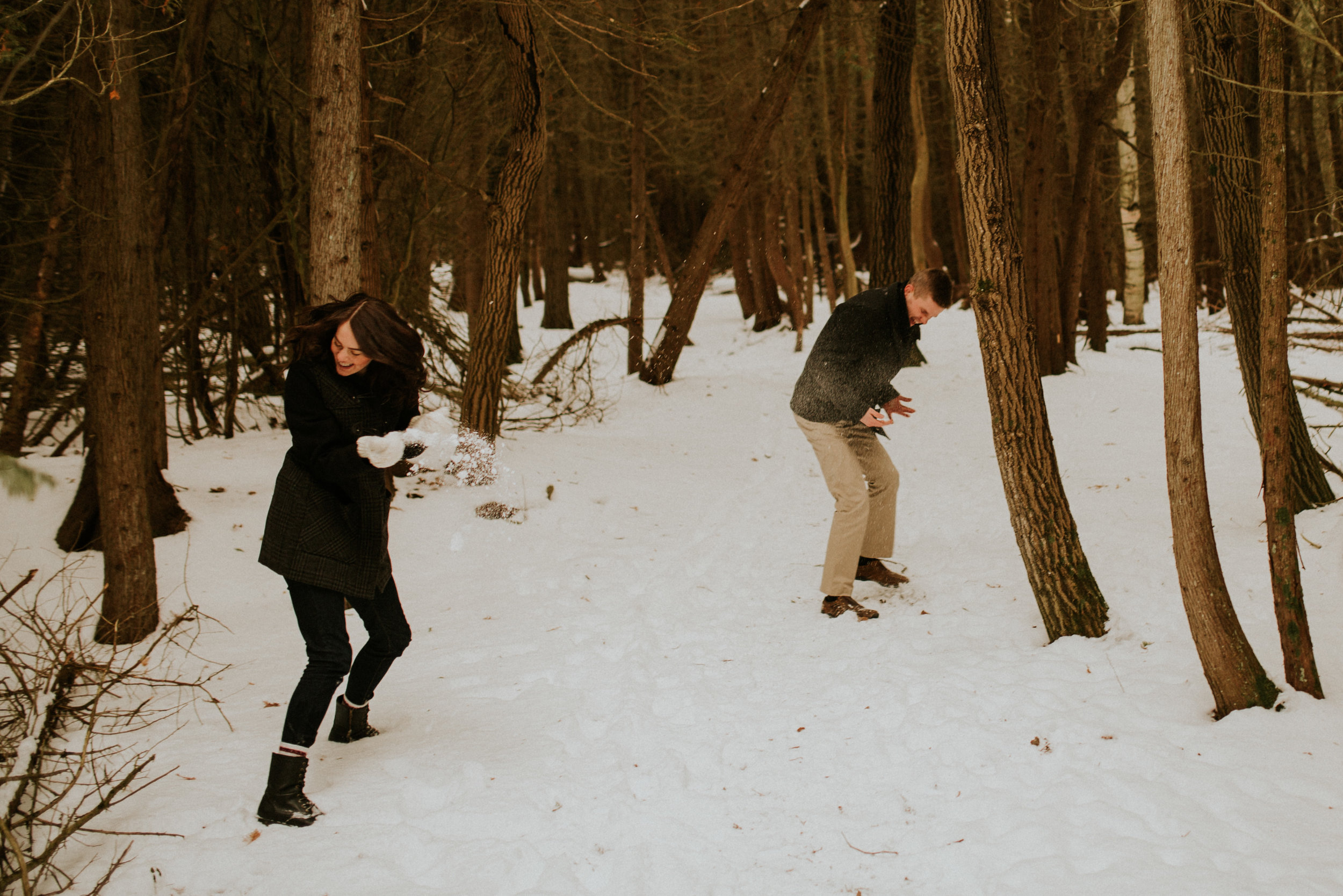 snowy presquile engagement session