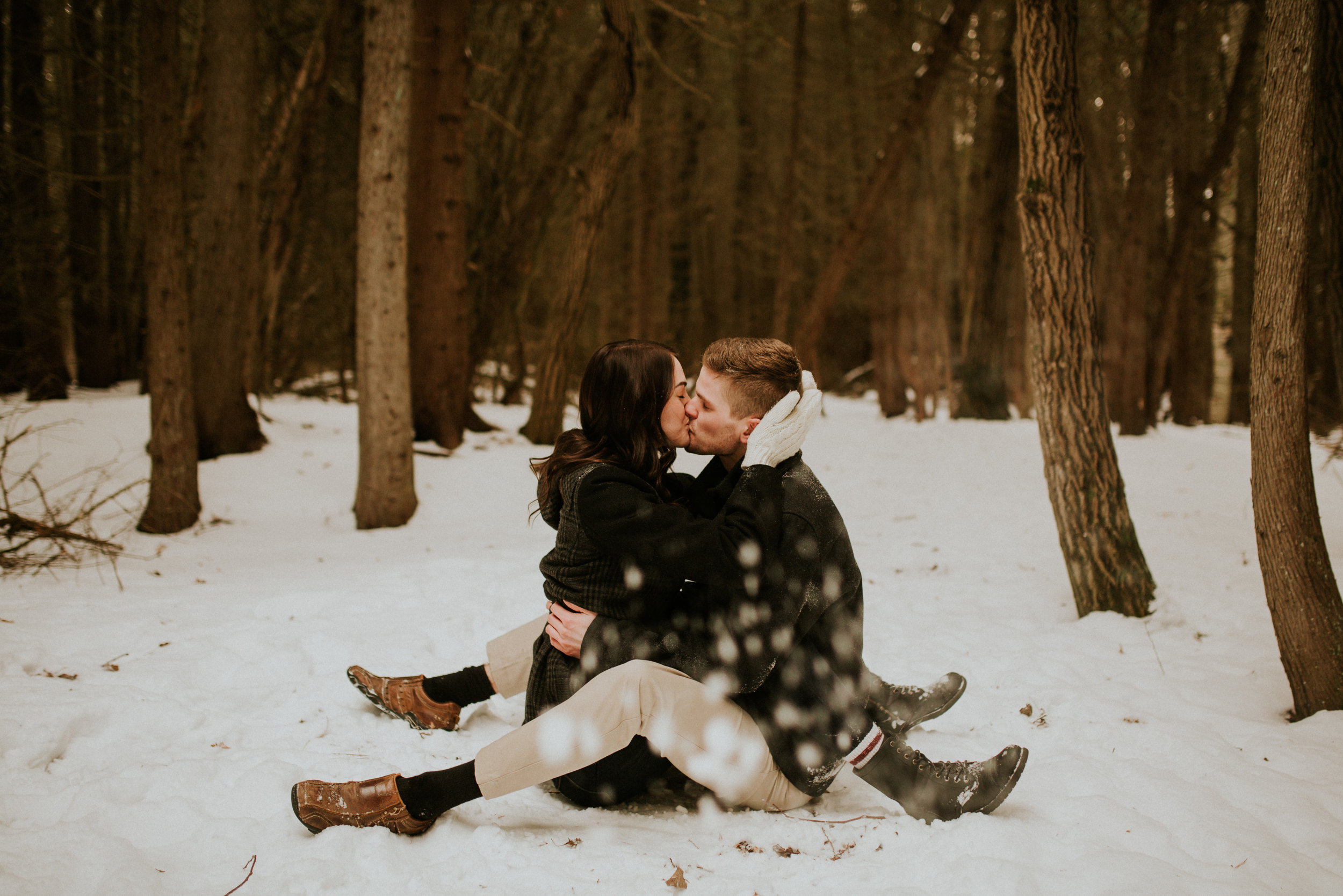 brighton ontario snow engagement photos