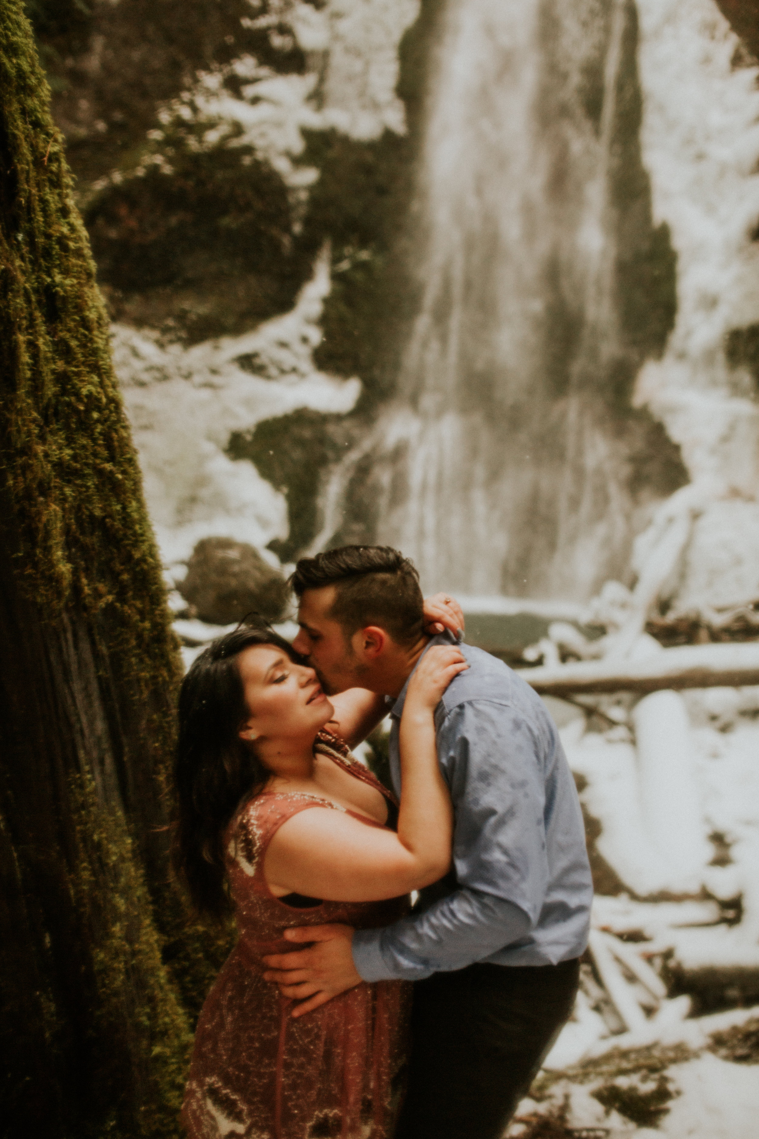 marymer falls in the snow engagement session by breeAnna Lasher