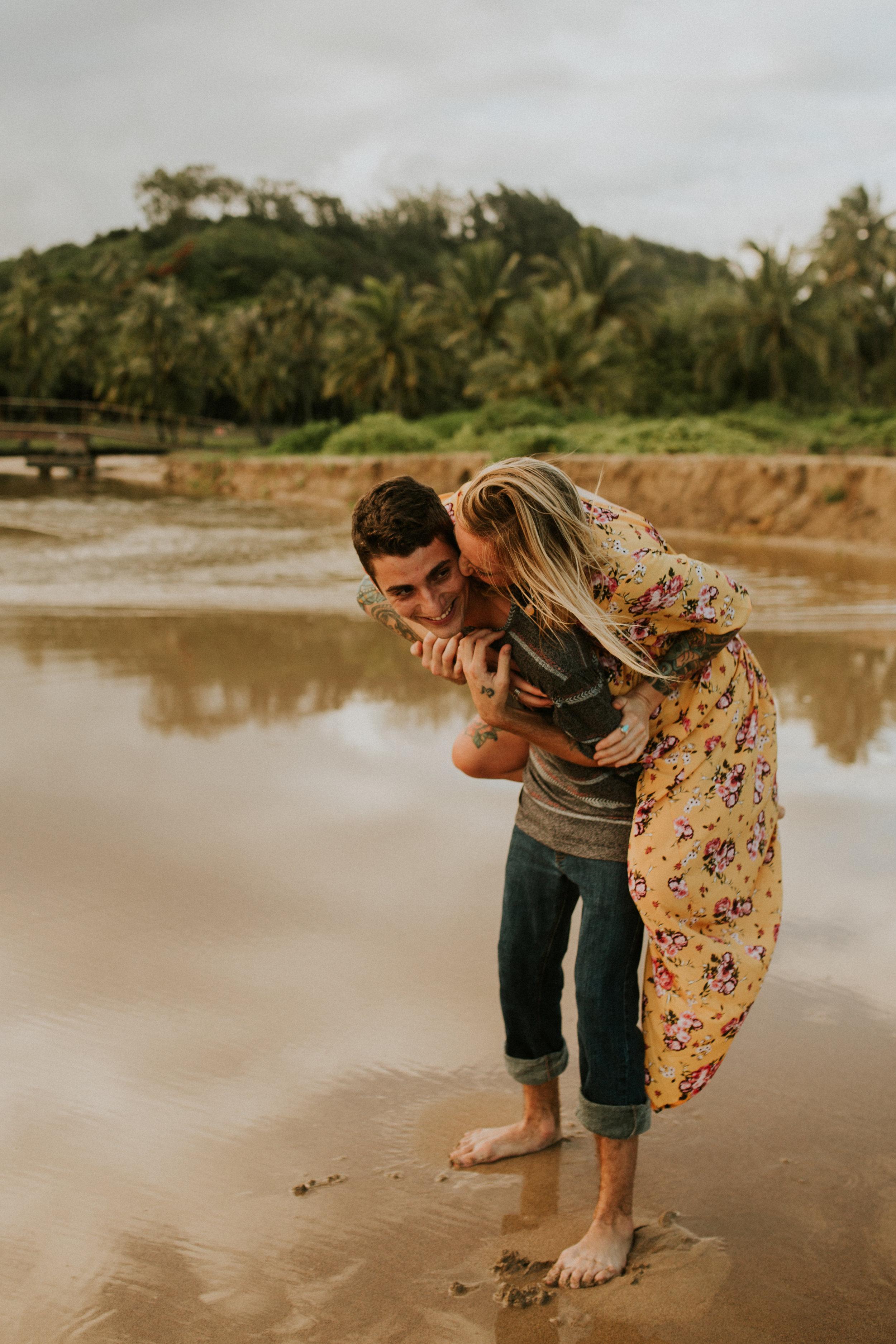 Kauai engagement photos on a secret beach