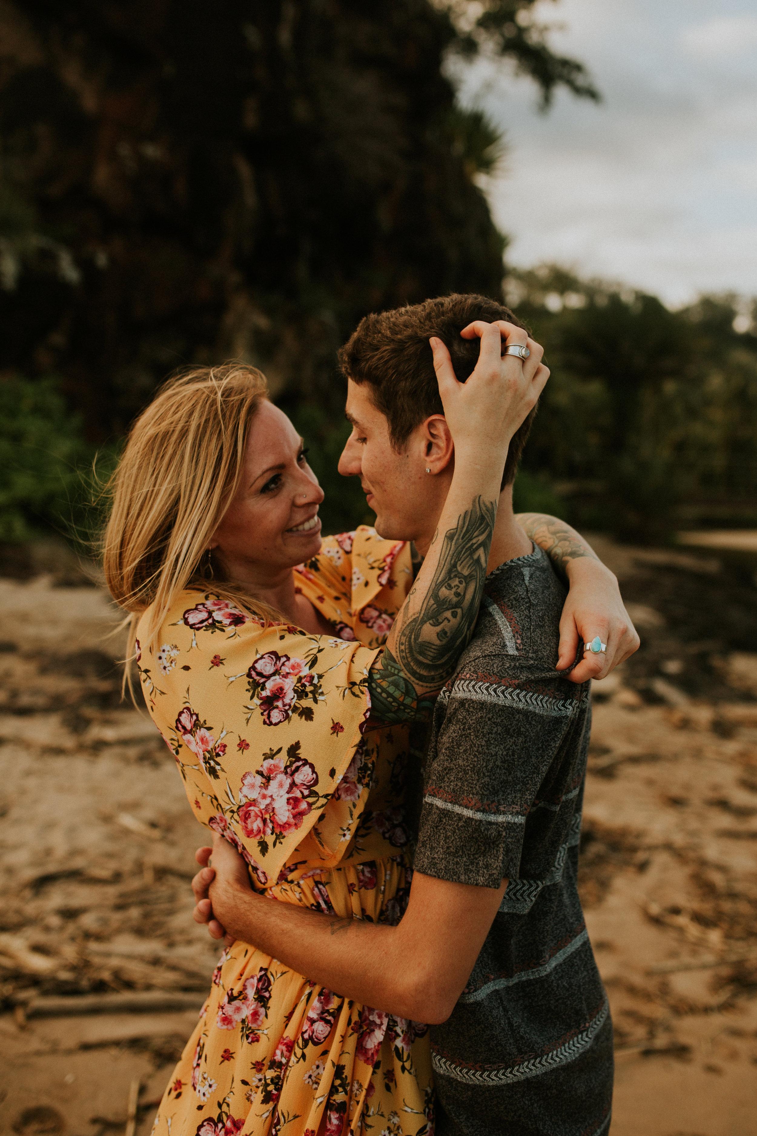 Hawaii elopement on kauai trespassing on a secret beach near spoouting horn