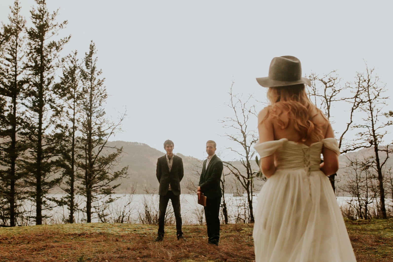 Bridal veil falls elopement photography intimate wedding in the woods