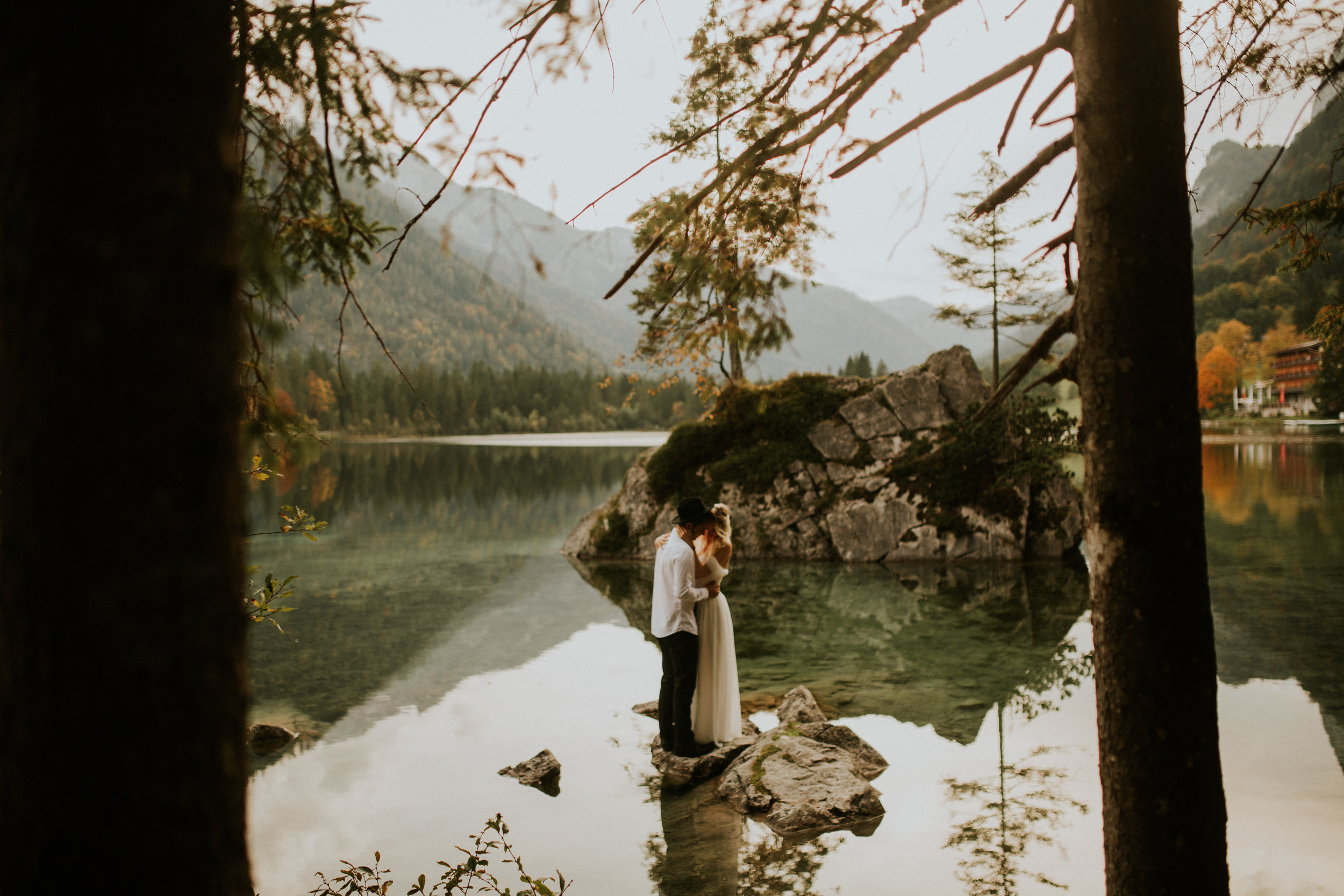 An elopement in Hintersee Germany. A cute lake and a cuter couple and their intimate wedding