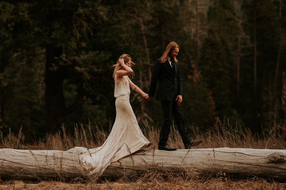 yosemite national park elopement log cooks meadow photography