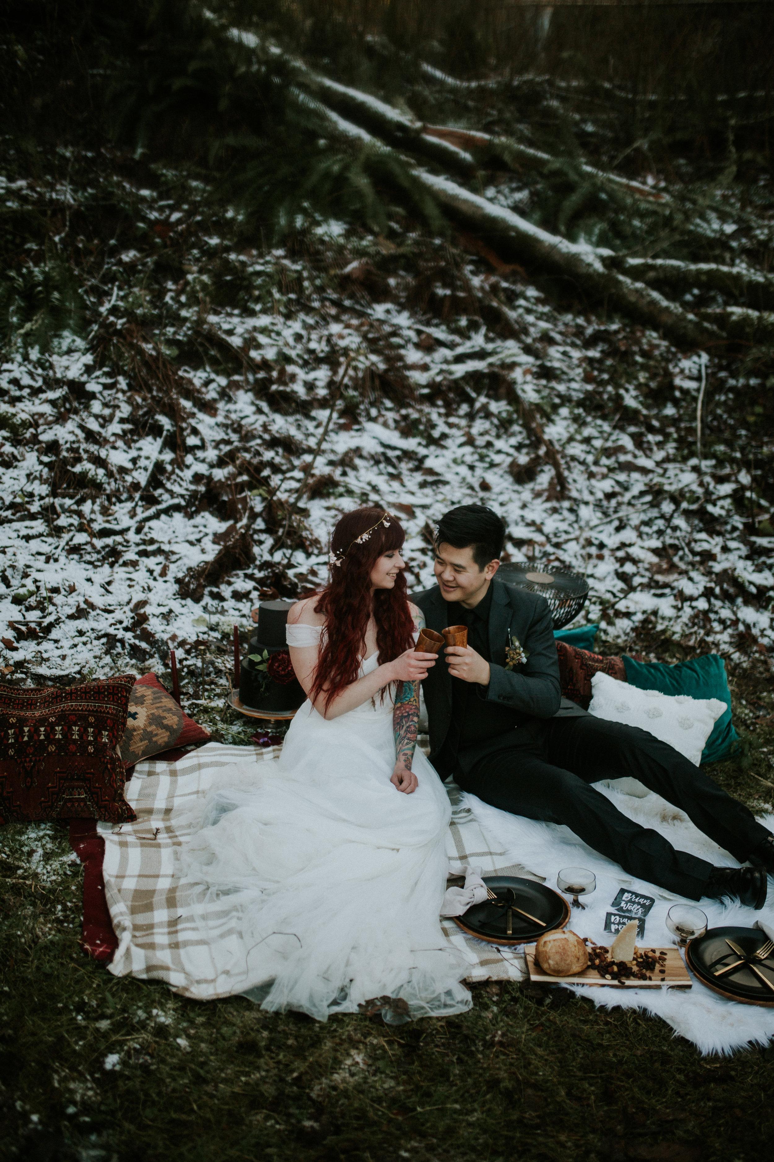 latourell falls elopement shoot with wolf