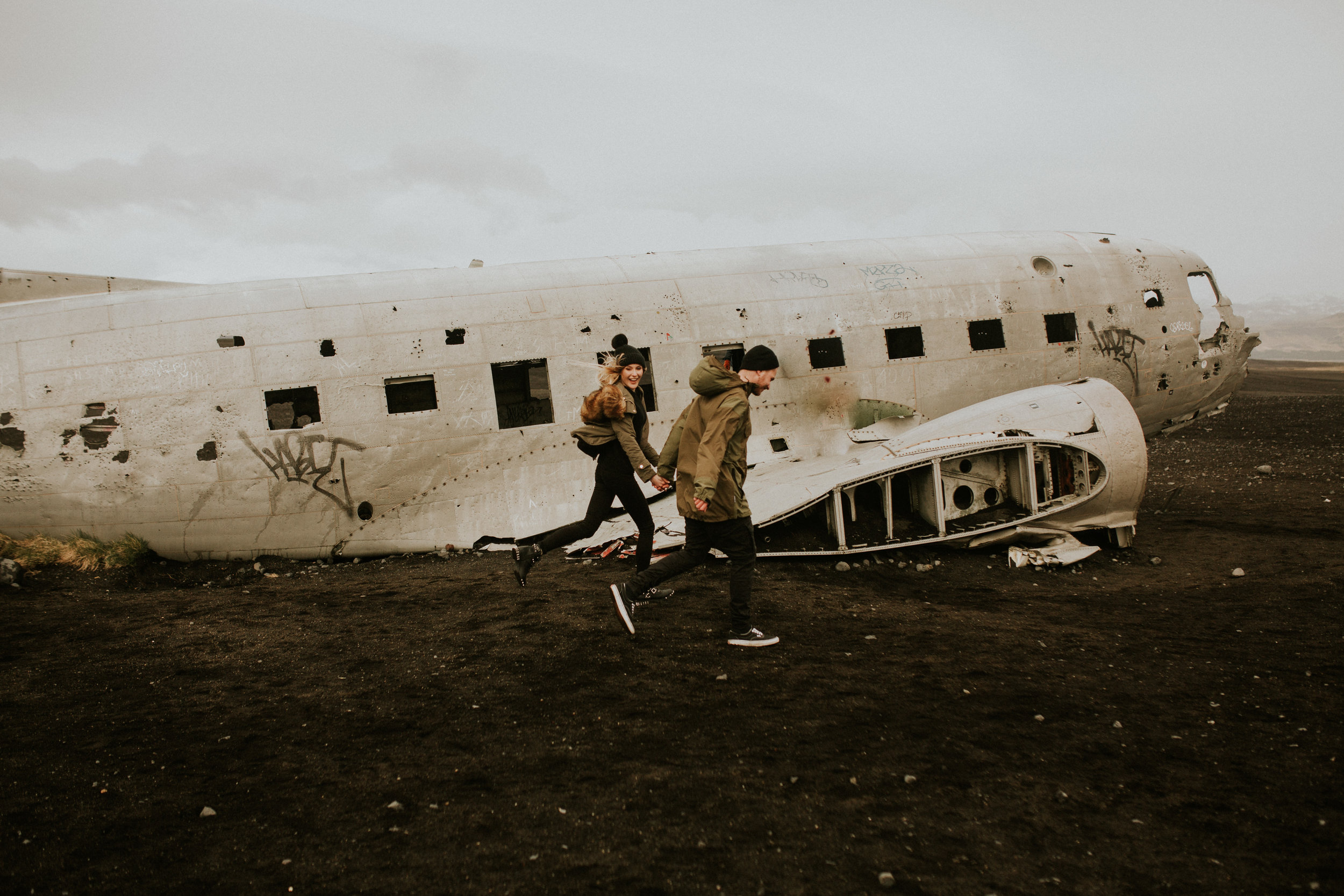 iceland   Sólheimasandur    plane crash engagement session by BreeAnna Lasher