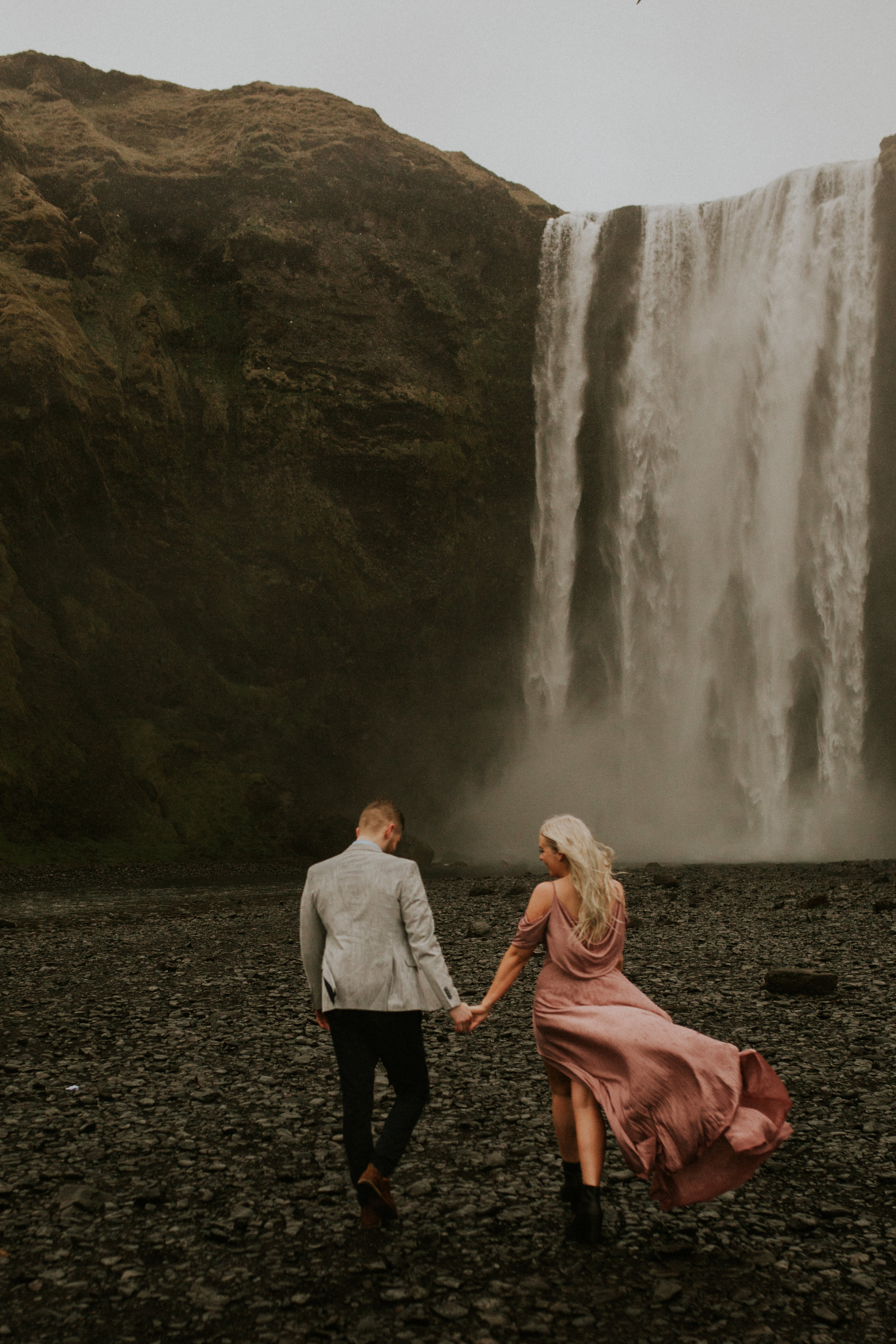 skogafoss couple engagement photography breeanna lasher iceland