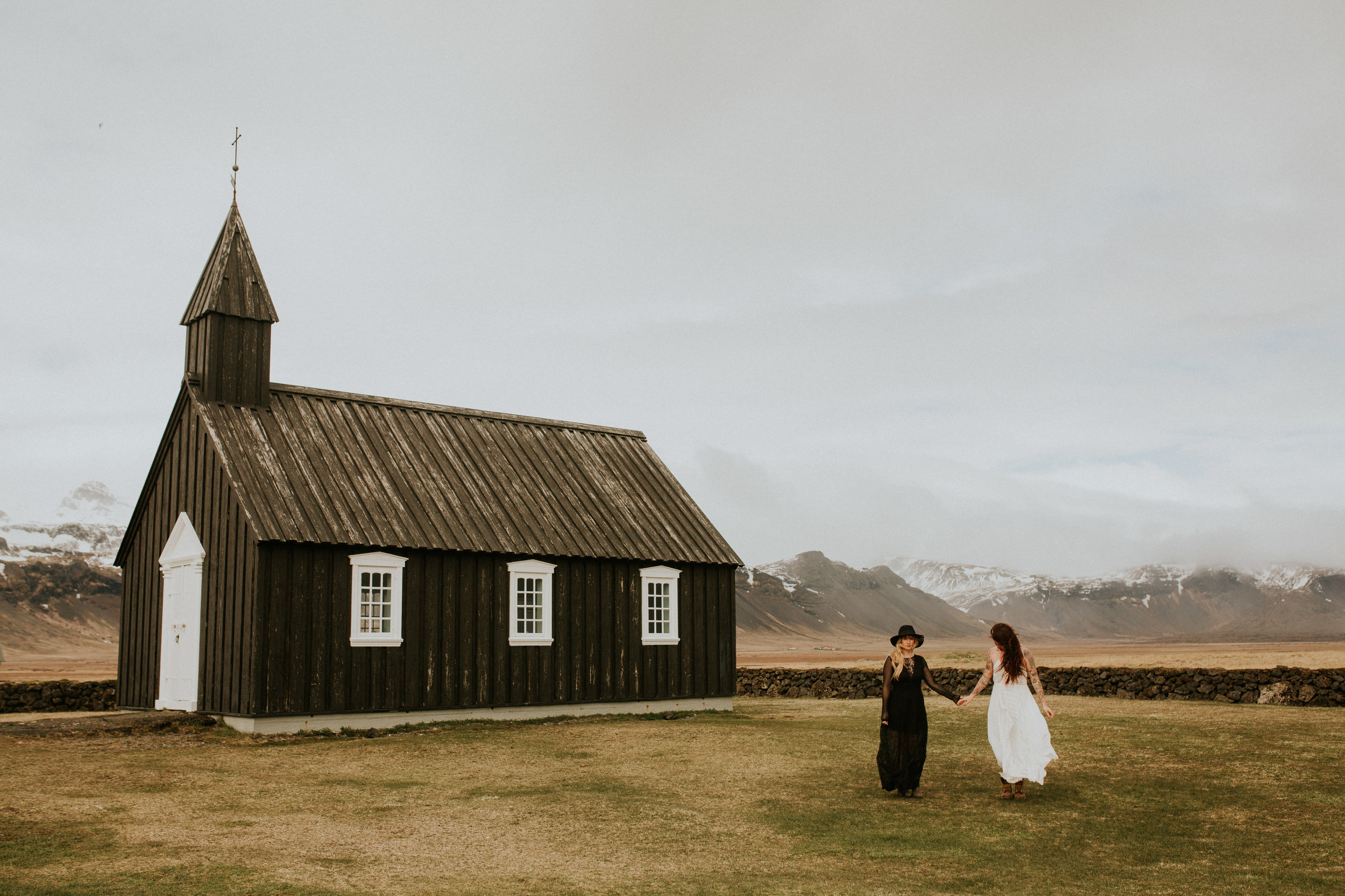 iceland black church same sex wedding photography