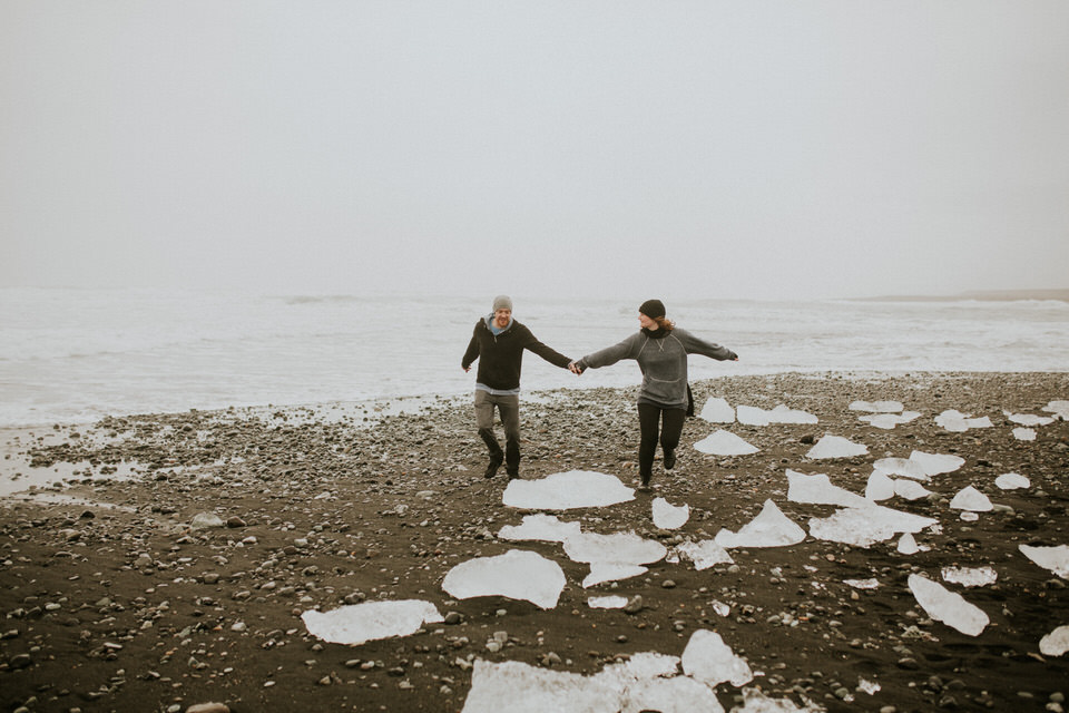diamond beach in iceland vanlife engagement session photographer