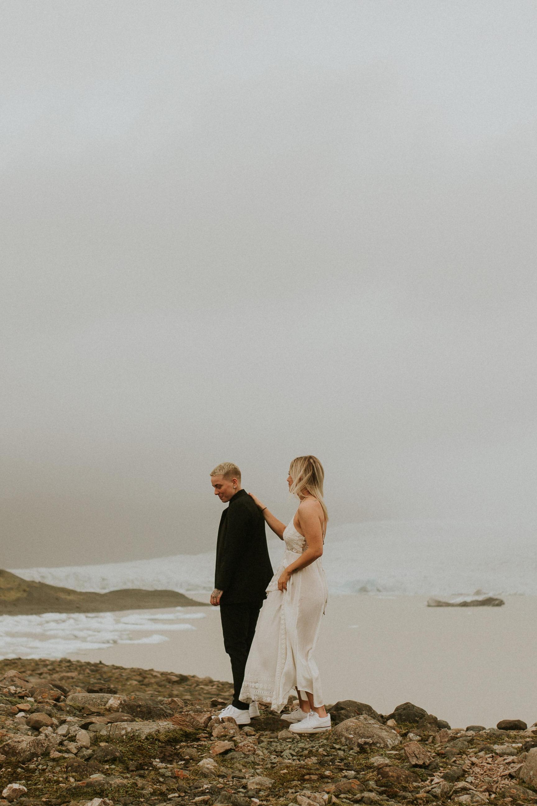 same sex elopement iceland first look photographer