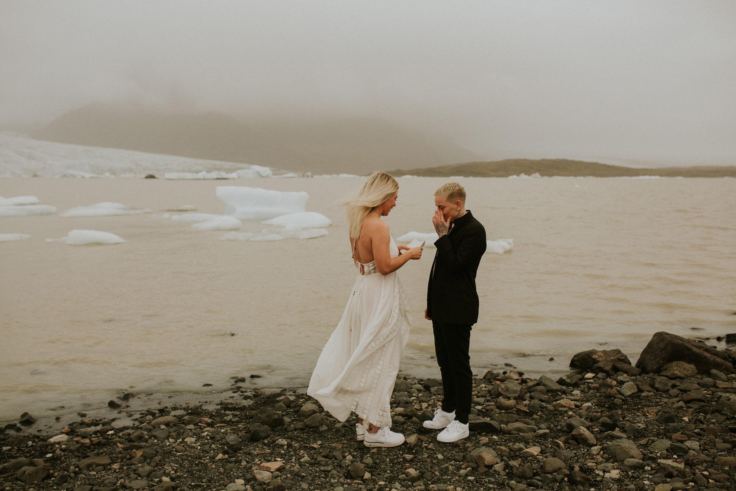 iceberg lagoon same sex elopement iceland first look photographer breeanna lasher lgbt wedding