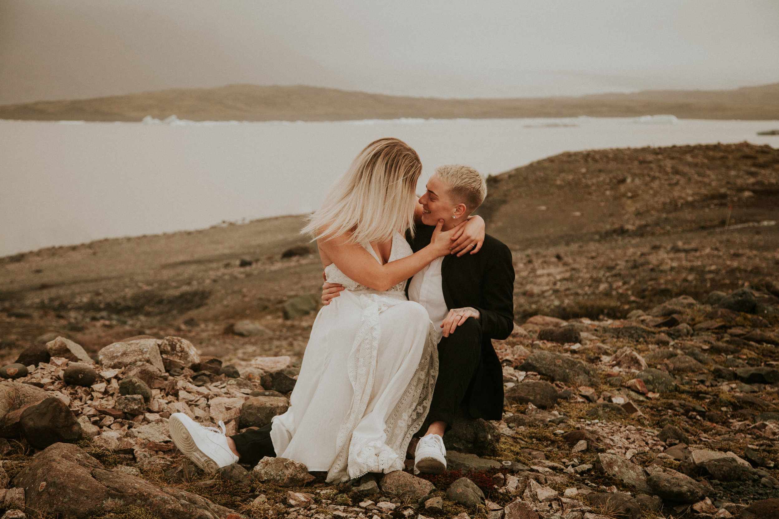 iceberg lagoon same sex elopement iceland first look photographer breeanna lasher