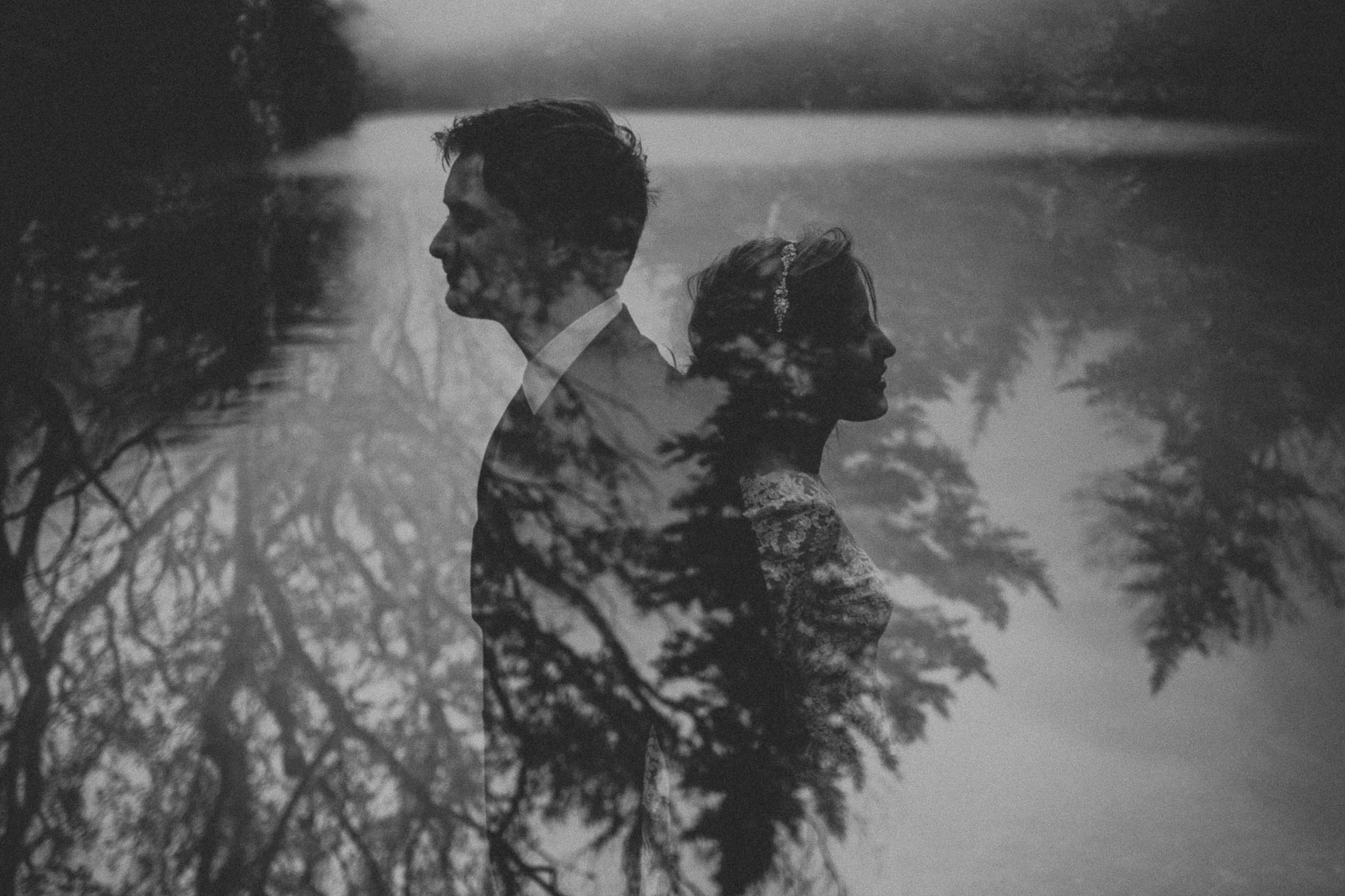 Artist bluff elopement double exposure black and white