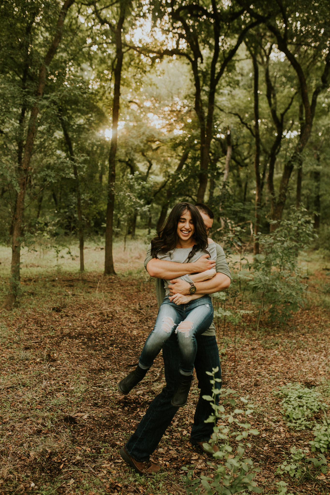 san antonio engagement photography in the woods at golden hour