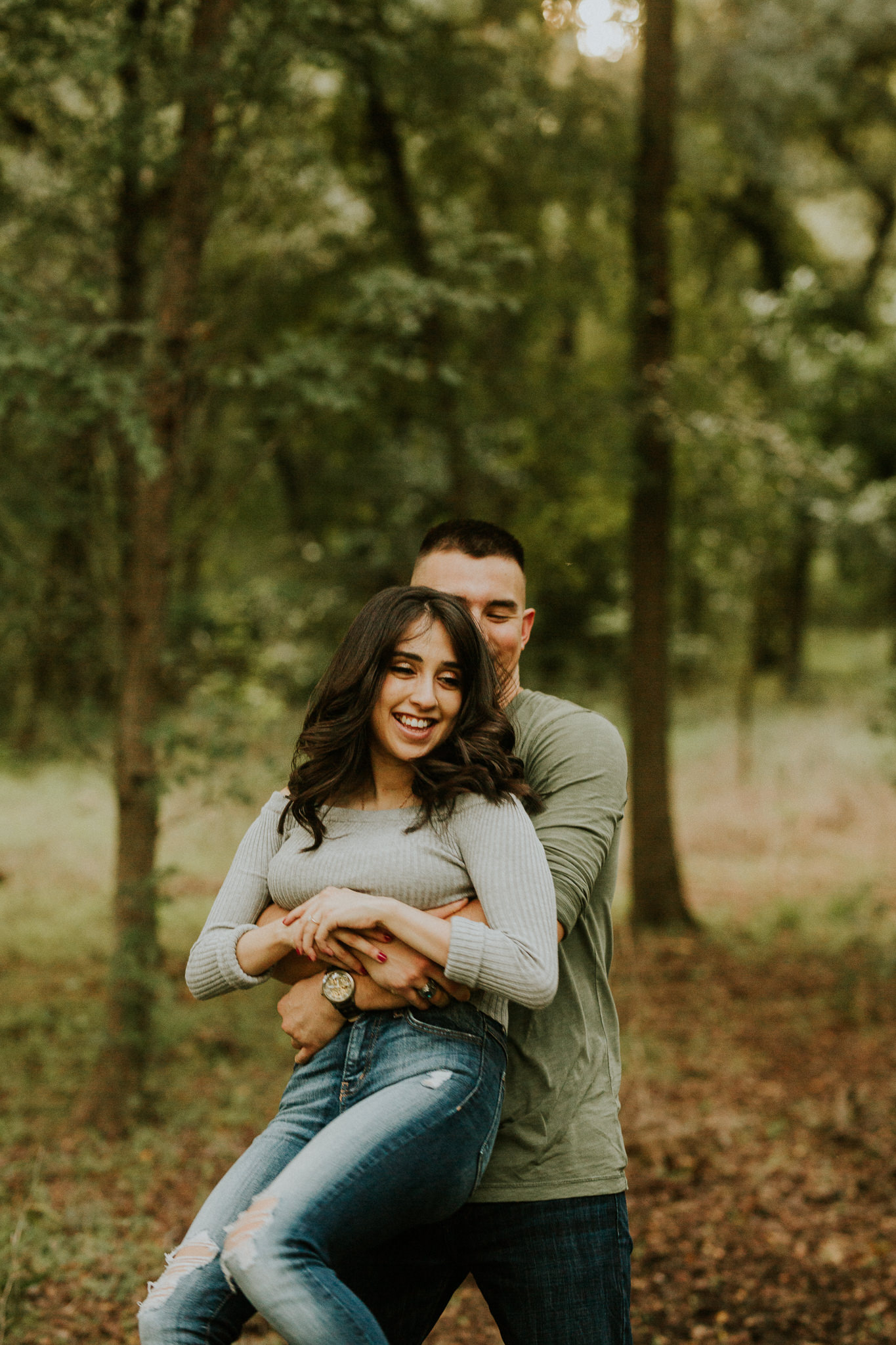 san antonio engagement photography at golden hour in the woods