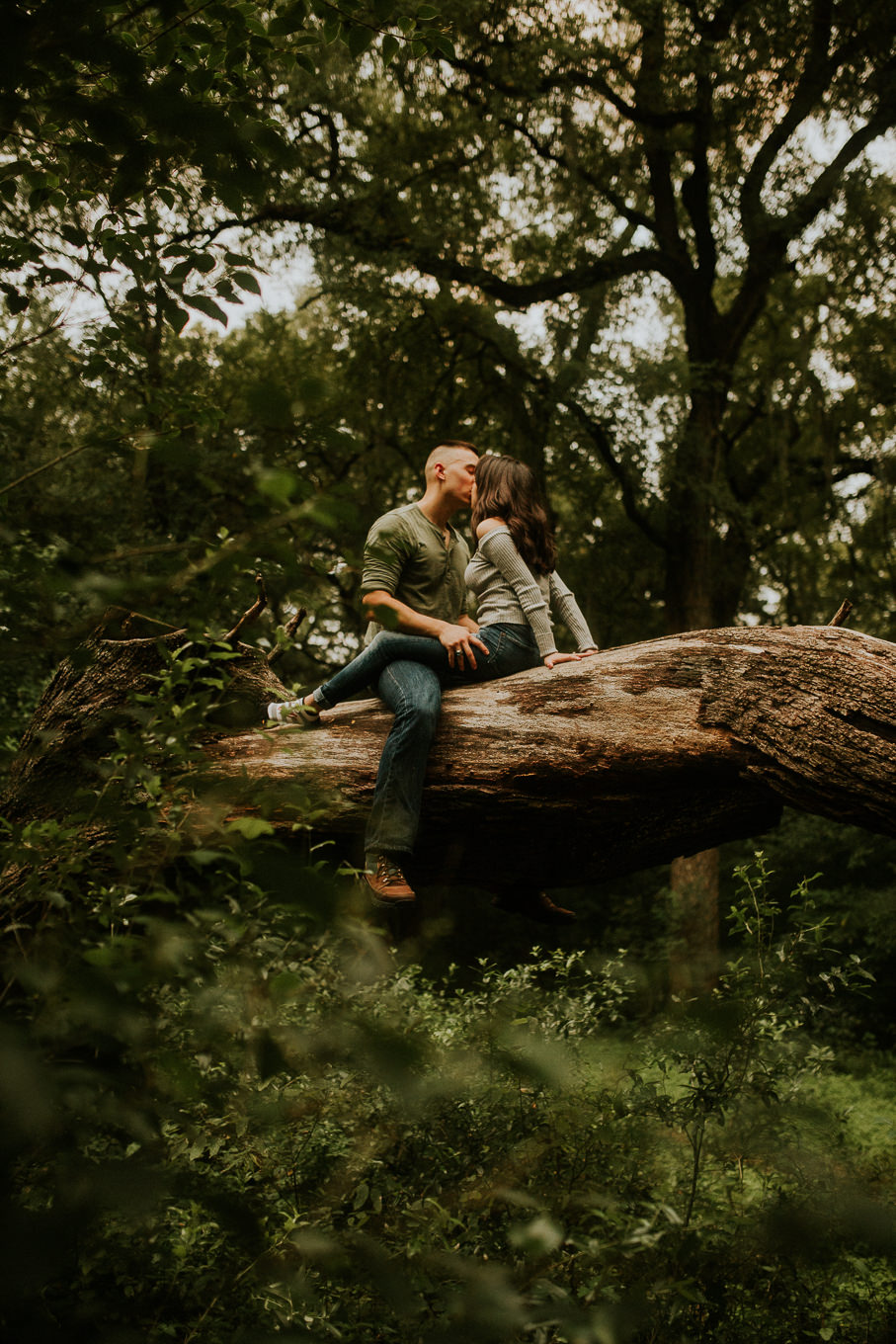 san antonio engagement photography cute couple up in a tree