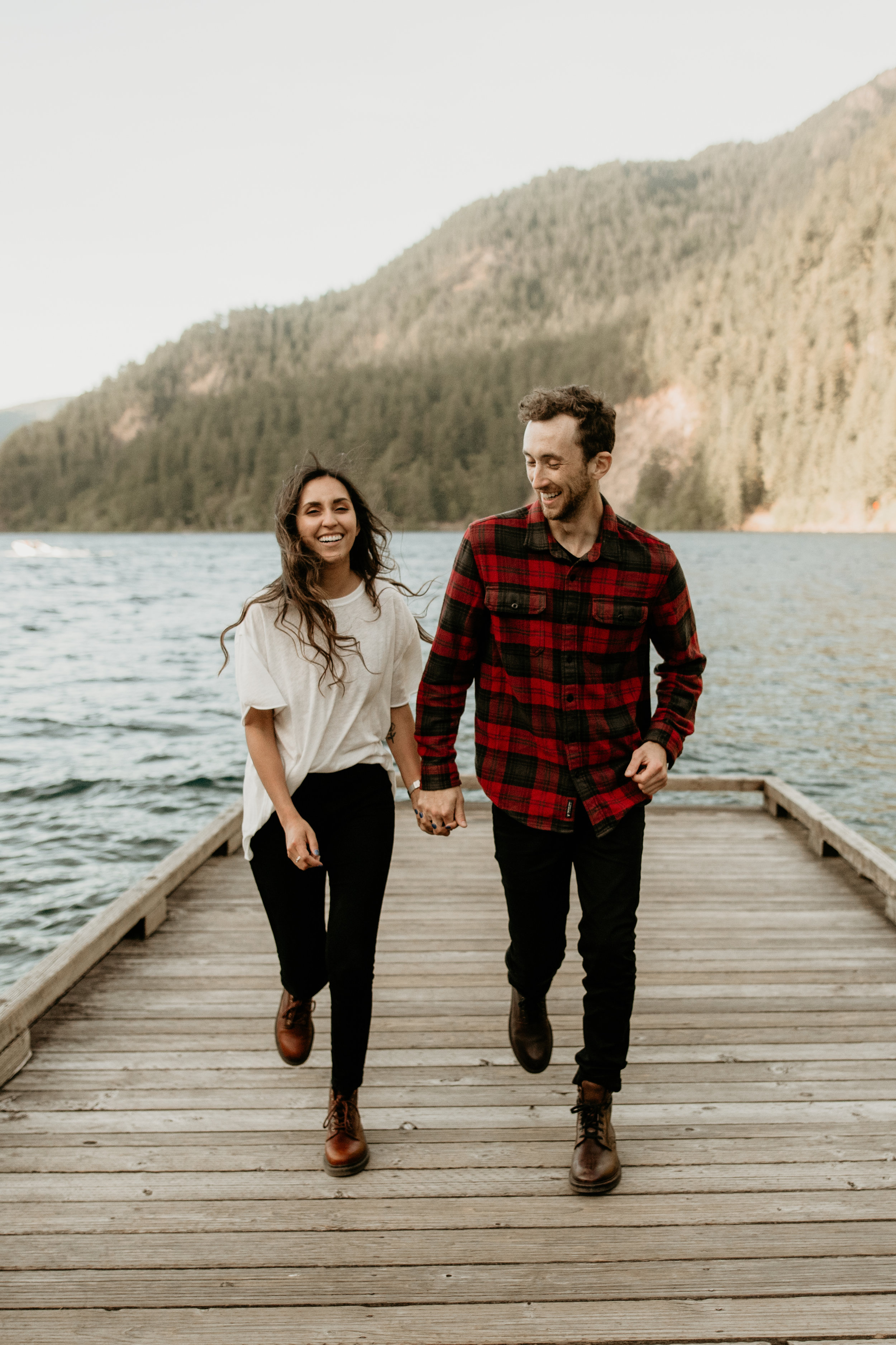 Crescent lake engagement photos – best Seattle elopement photographer - adventure hikes - lake hiking - best engagement photo location - what to wear on your engagement - pnw elopement photographer