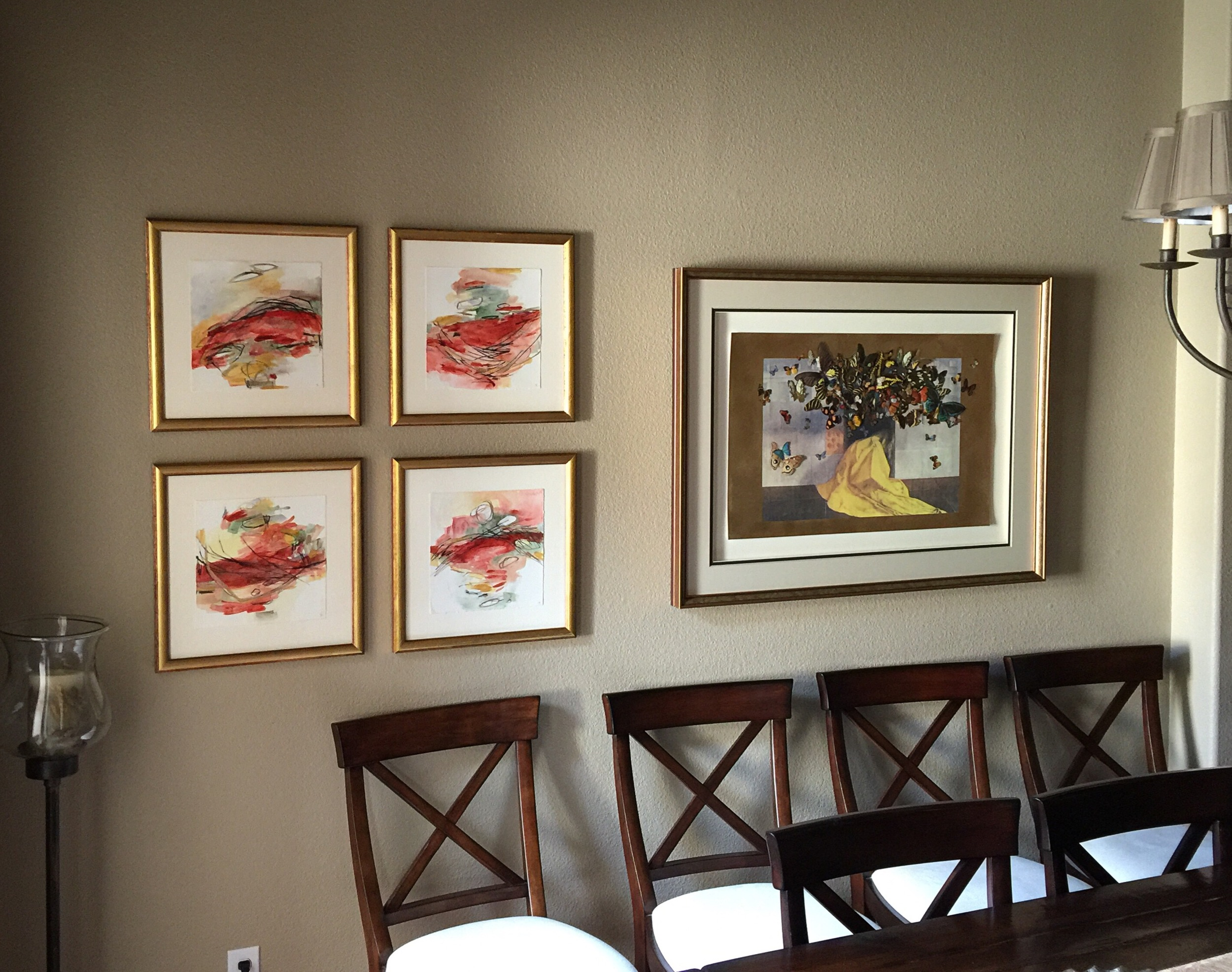 Commission of four works on paper, installed in a client's home. For information about commissions, email me at jbrucker@icloud.com.