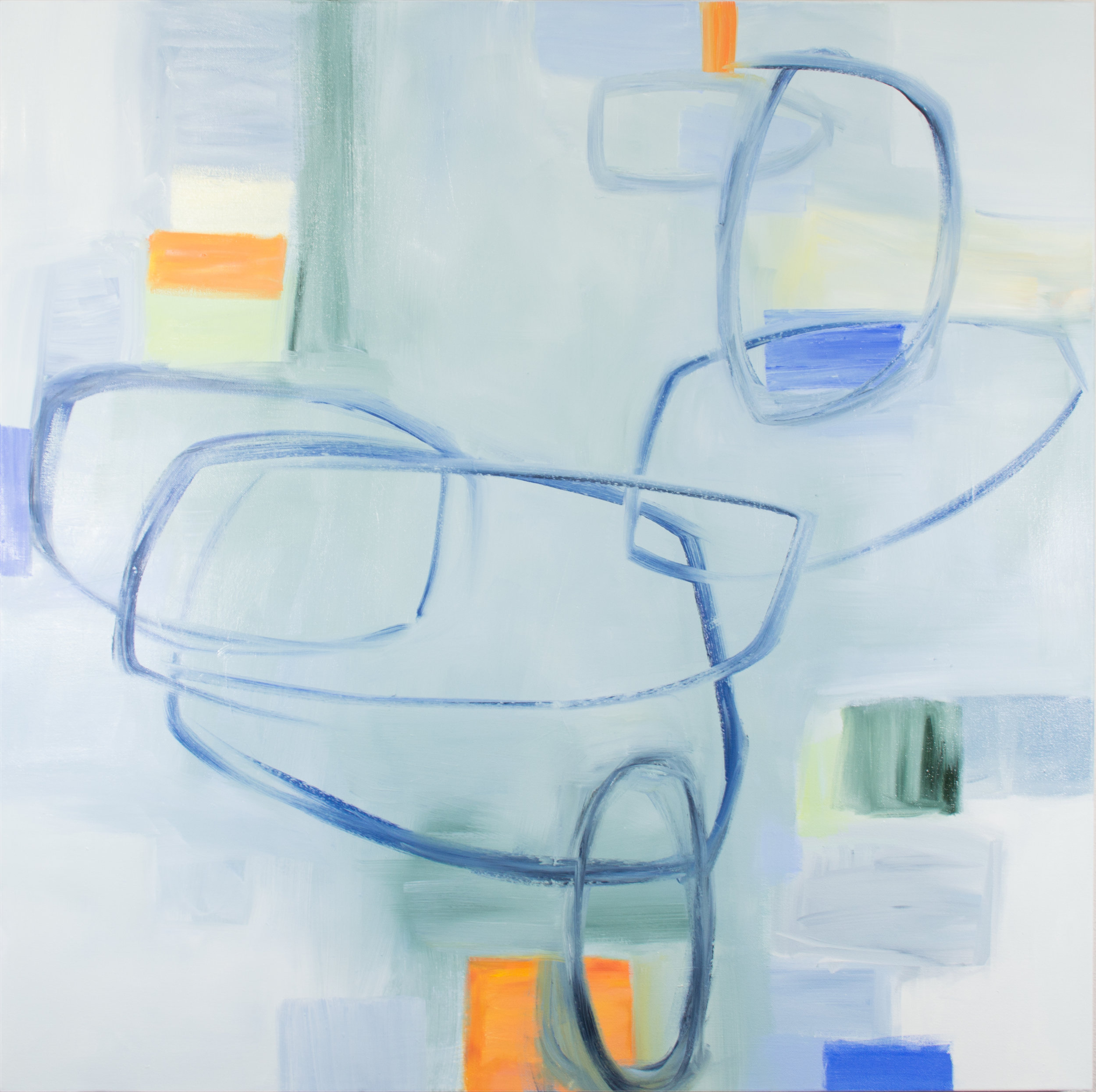 """Blueness,"" oil on canvas, 36"" x 36"", ©2019 Julia Rymer"