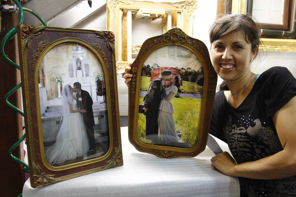 Custom framing using antique frames