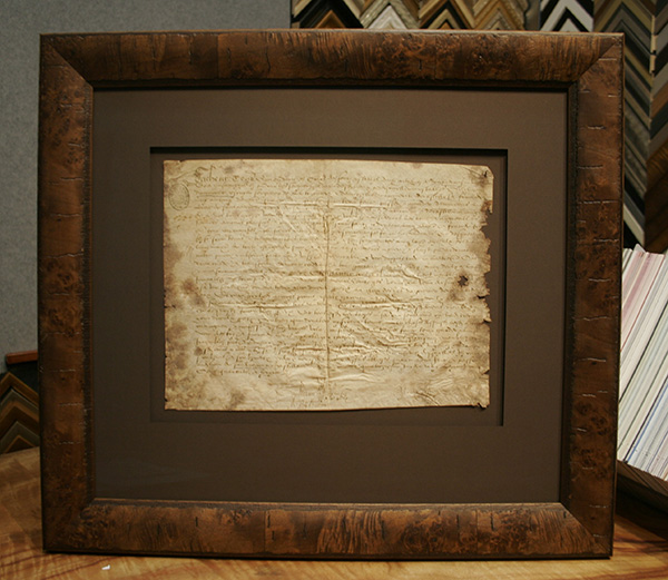 500 year old Antique Document conservation framing