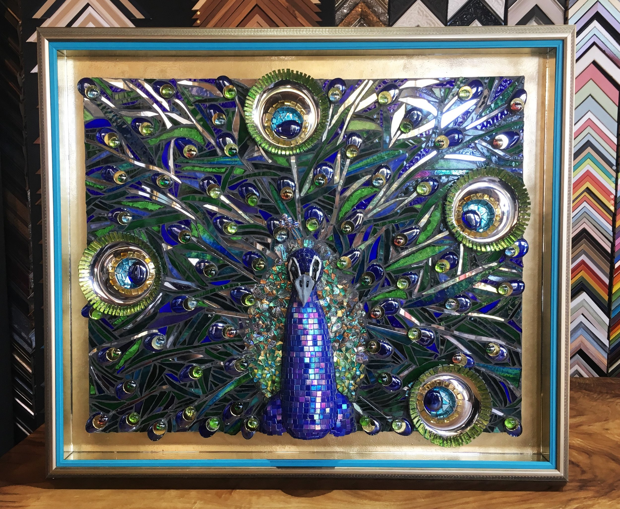 Mosaic with mirrored sides and custom coloured hand finishing