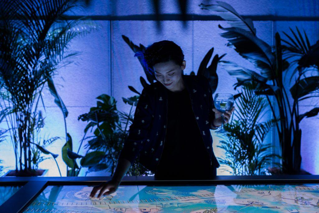 a woman touching screen