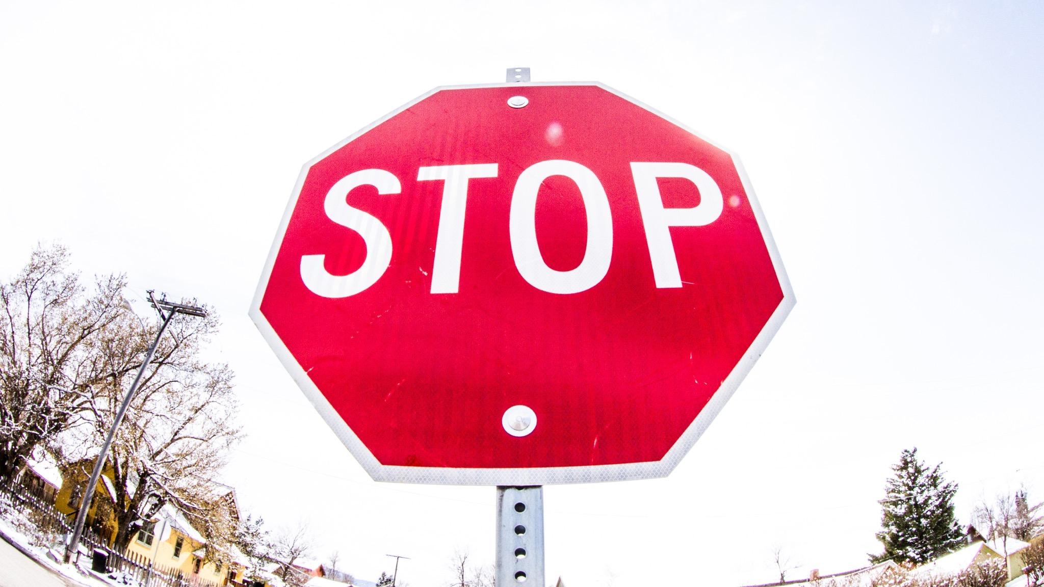 Stop sign in NE Bozeman