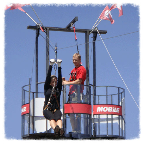 Mobile Zip Line Rider in the air