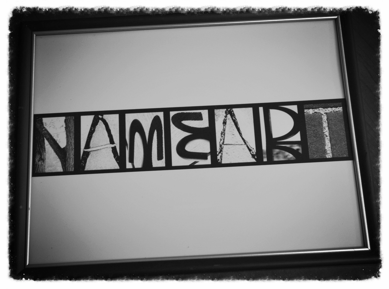 """Standard Name Art is 8.5"""" x 11"""" & is available with frames"""