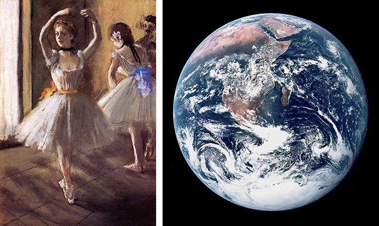 ' Two Dancers in a Studio ', Edgar Degas, 1875 (left), ' The Blue Marble ', Apollo 17, 1972 (right)