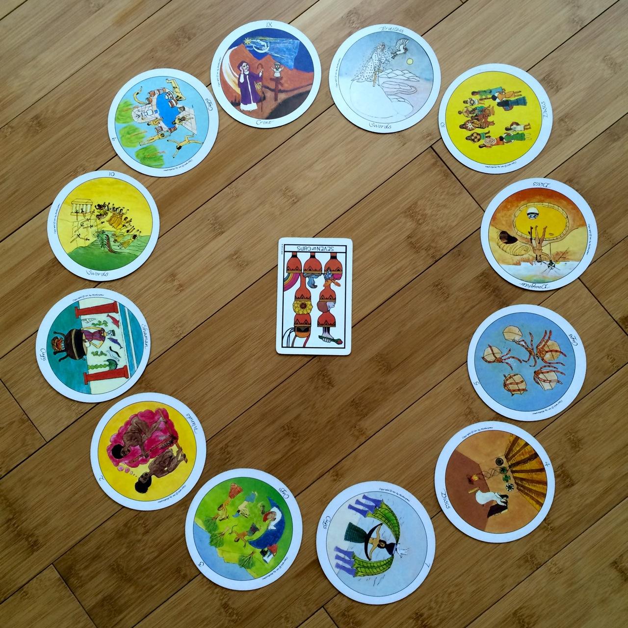 Zodiac spread, Motherpeace and Aquarian tarot decks