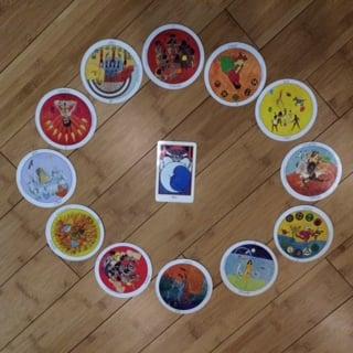 January 2016 horoscope spread, Aquarian tarot and  Motherpeace  deck