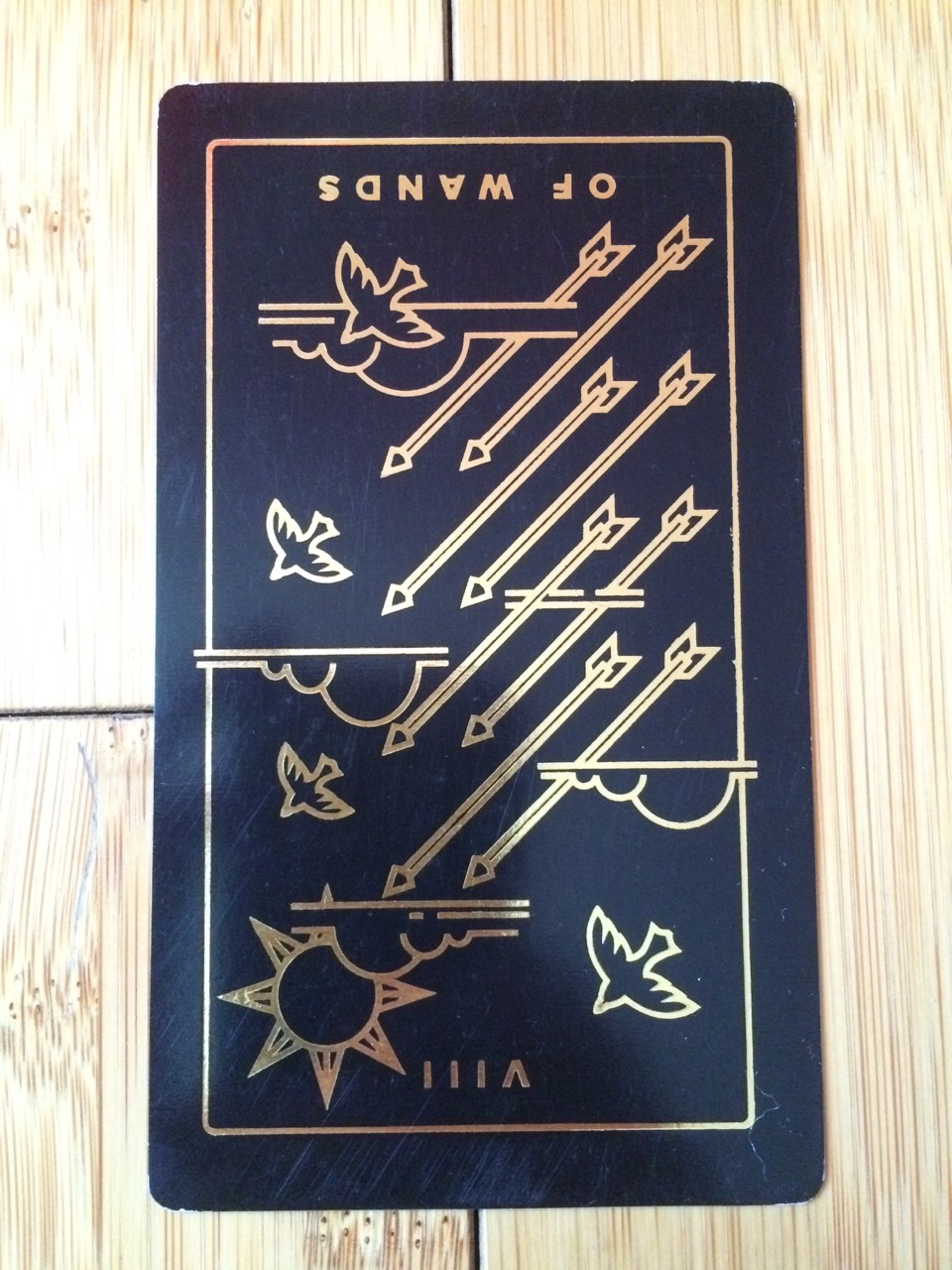 Eight of Wands reversed, Golden Thread Tarot