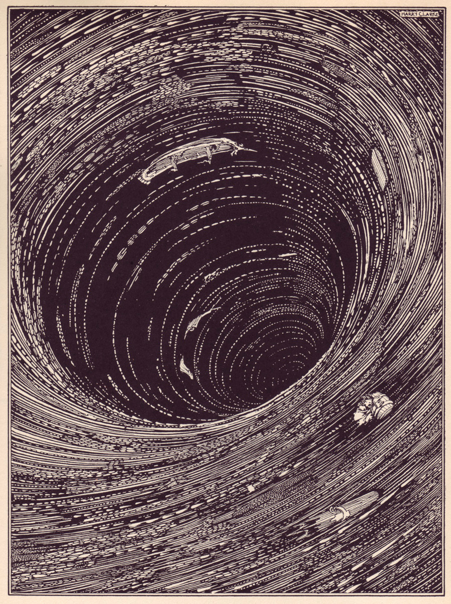 Illustration by artist Harry Clarke for Edgar Allen Poe's 'Pit and the Pendulum' story in Tales of Mystery and Imagination