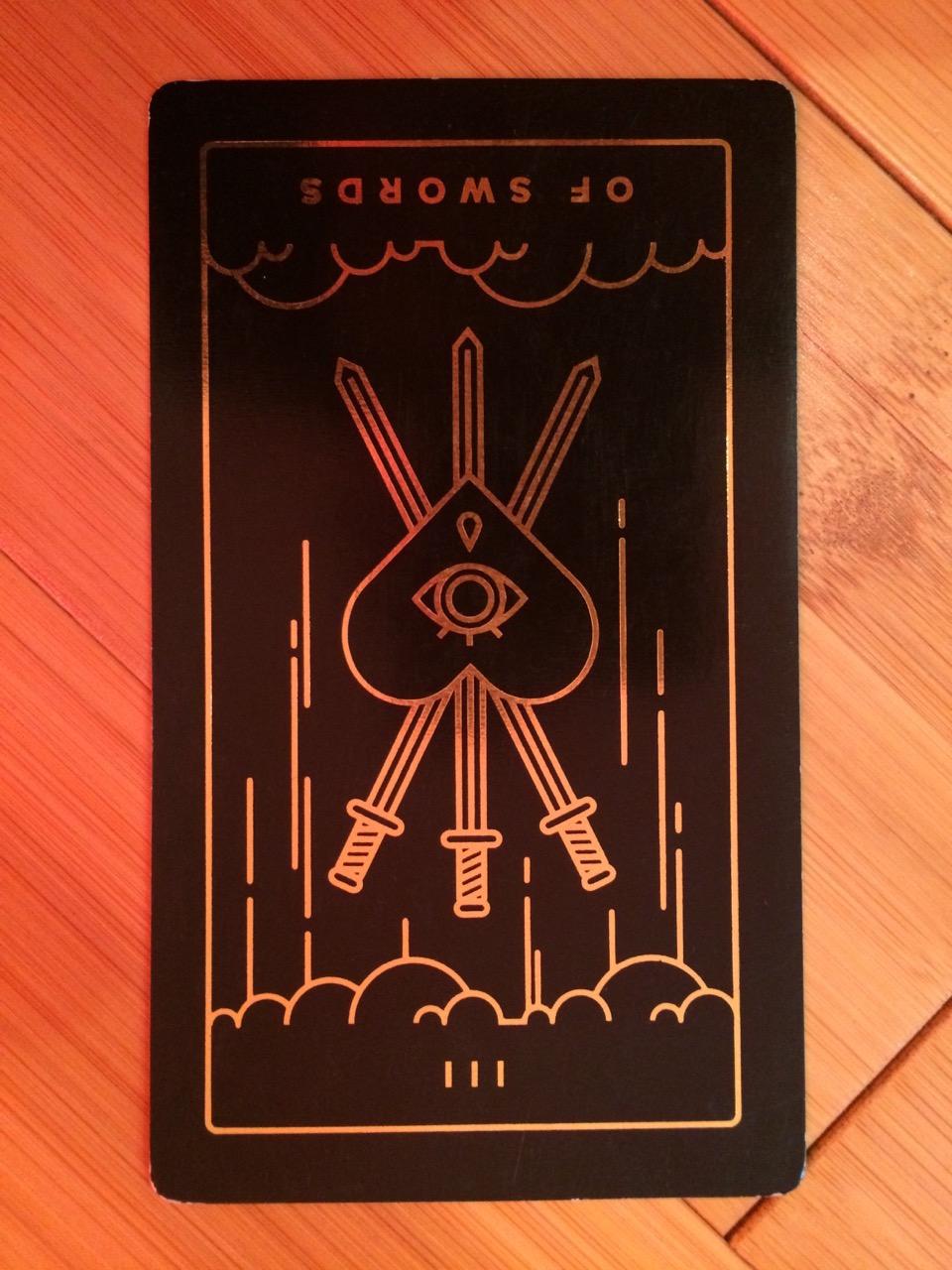 Three of Swords reversed,  Golden Thread Tarot