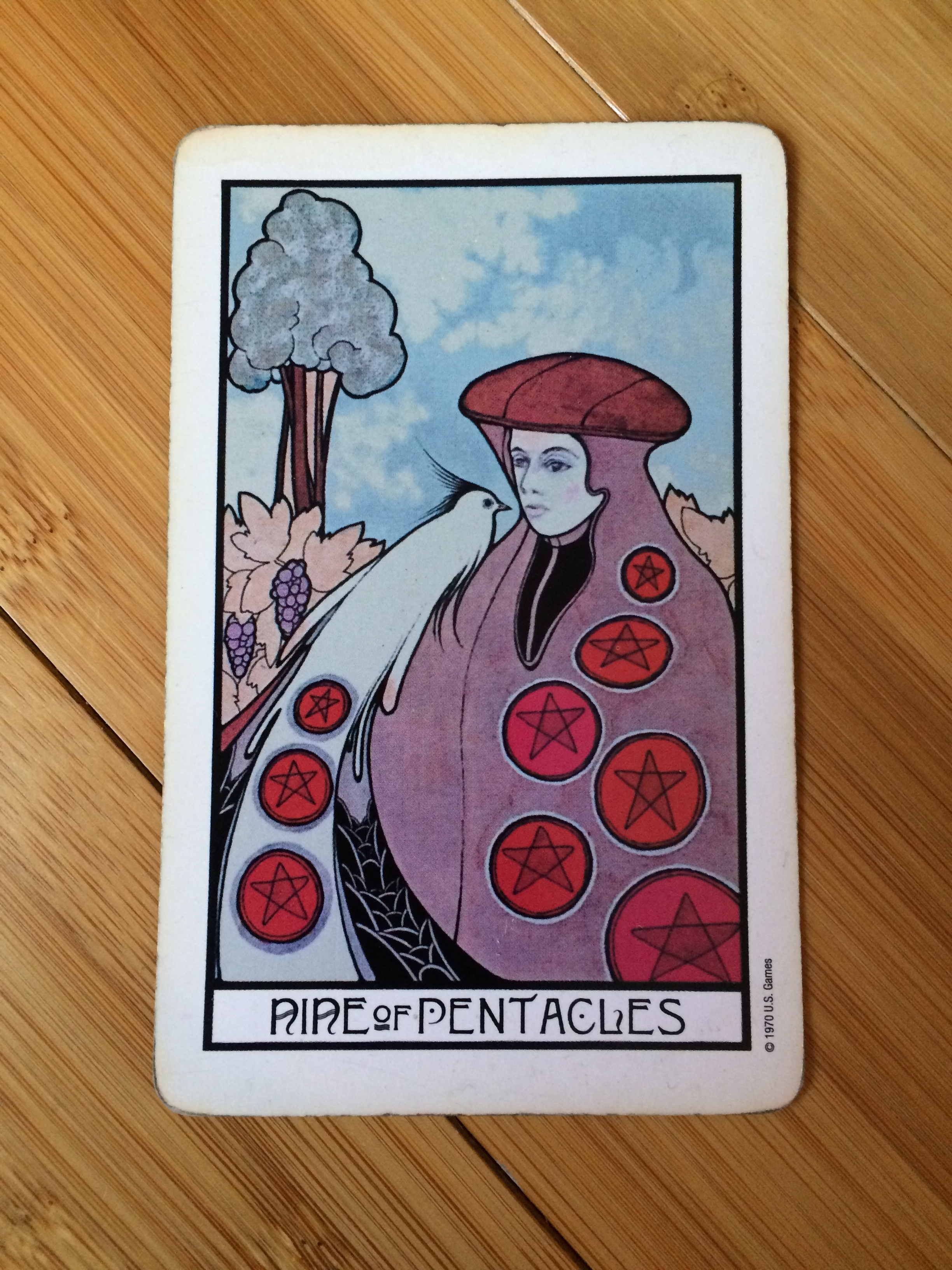 Nine of Pentacles from the  Aquarian Tarot