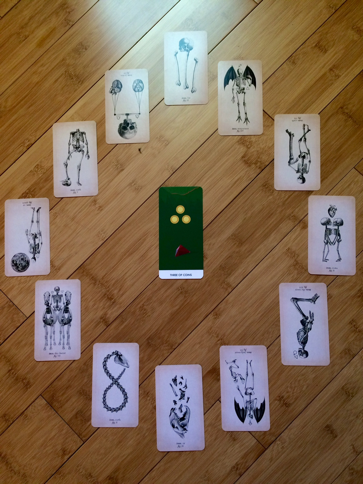 Astrological spread containing cards from the Antique Anatomy Tarot and A Wicked Pack of Tarot Cards