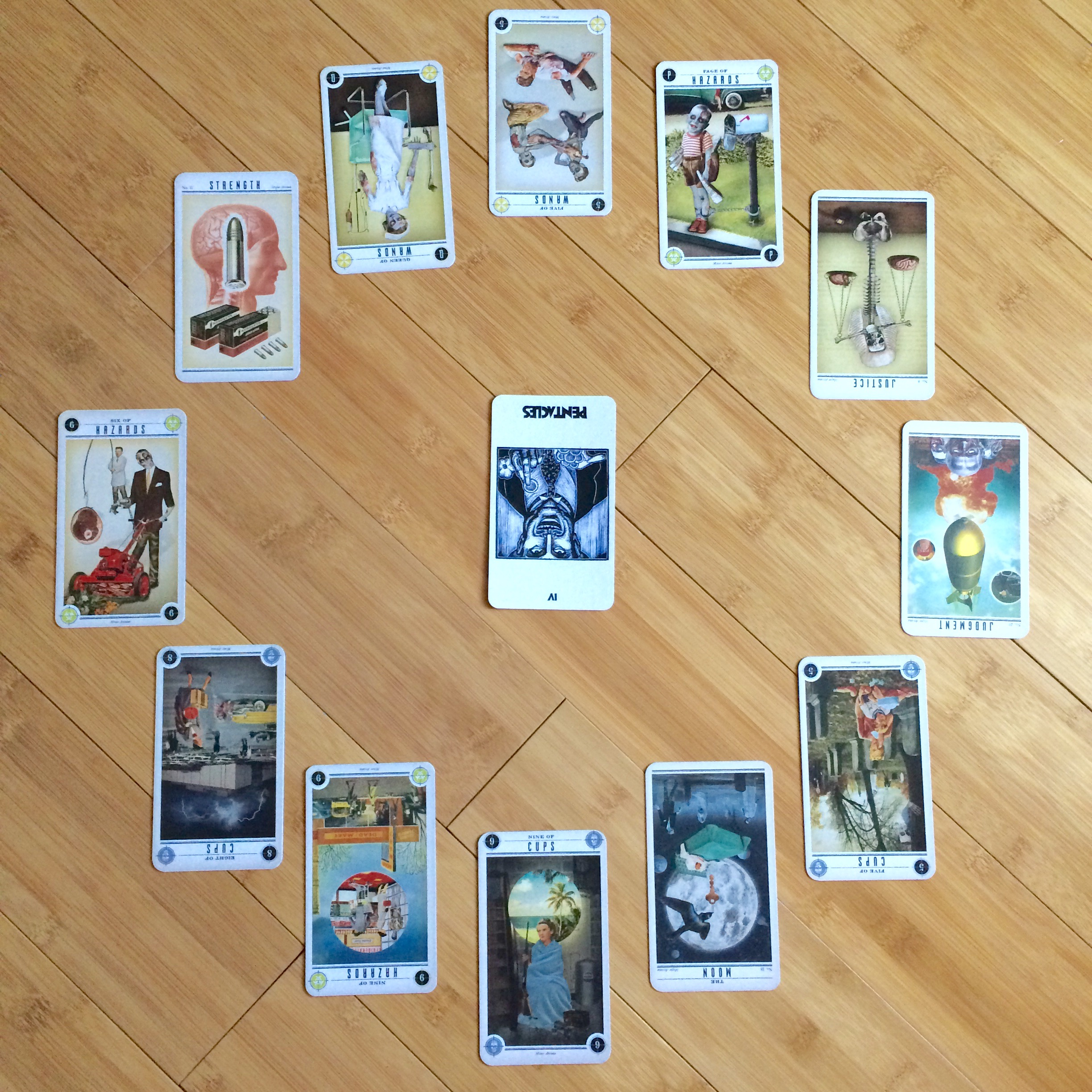 Astrological spread containing cards from  The Zombie Tarot  and  The Lynd Ward Tarot