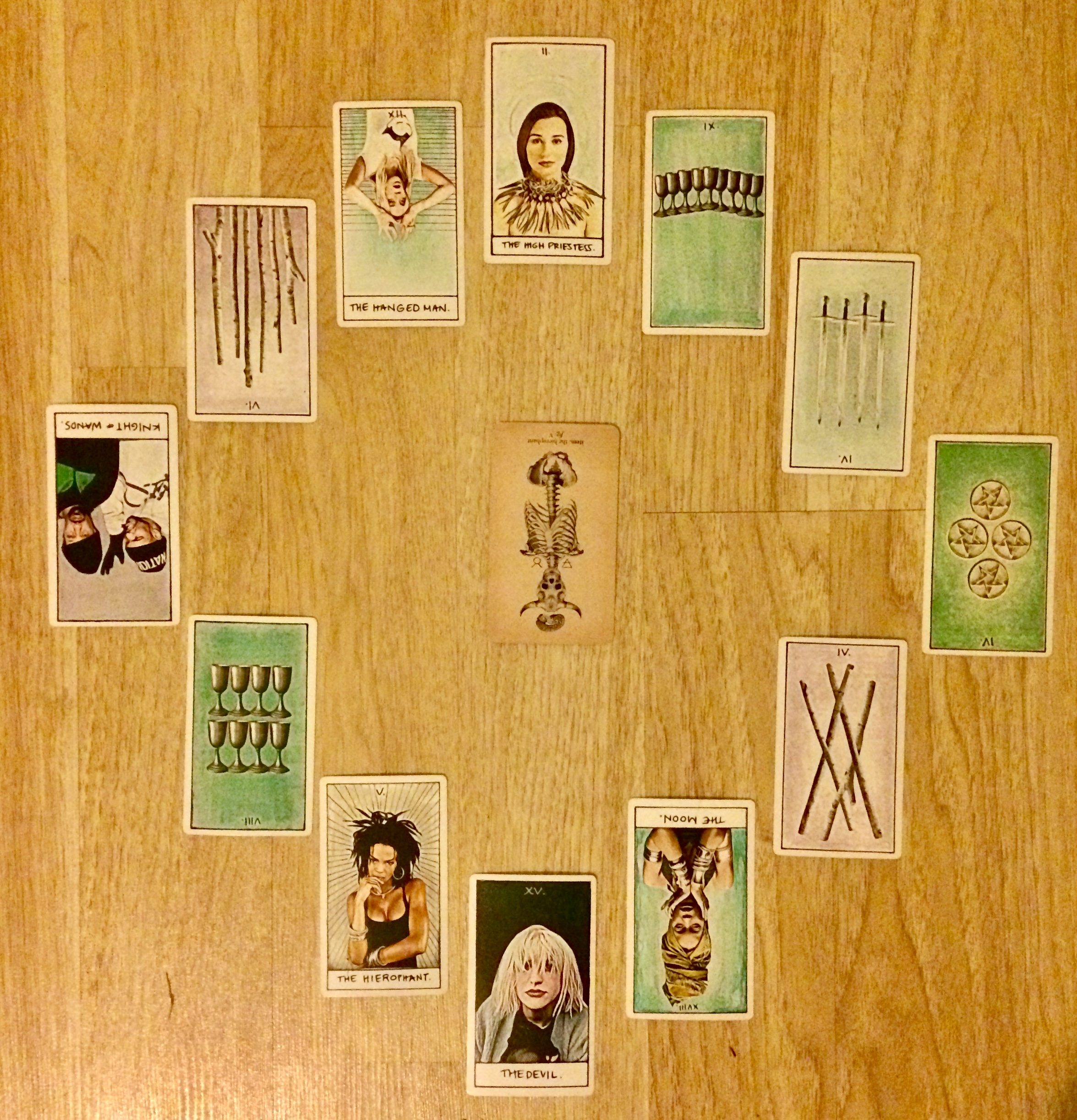 Astrological spread with Antique Anatomy Tarot and  The Illest Tarot