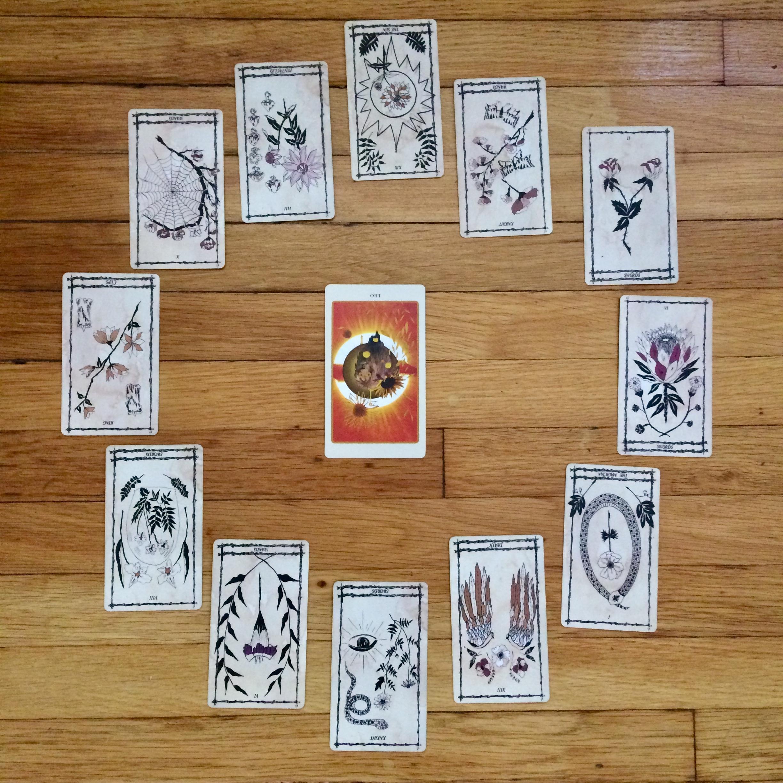 Astrological spread using  Ophidia Rosa Tarot  and  The Spolia Tarot