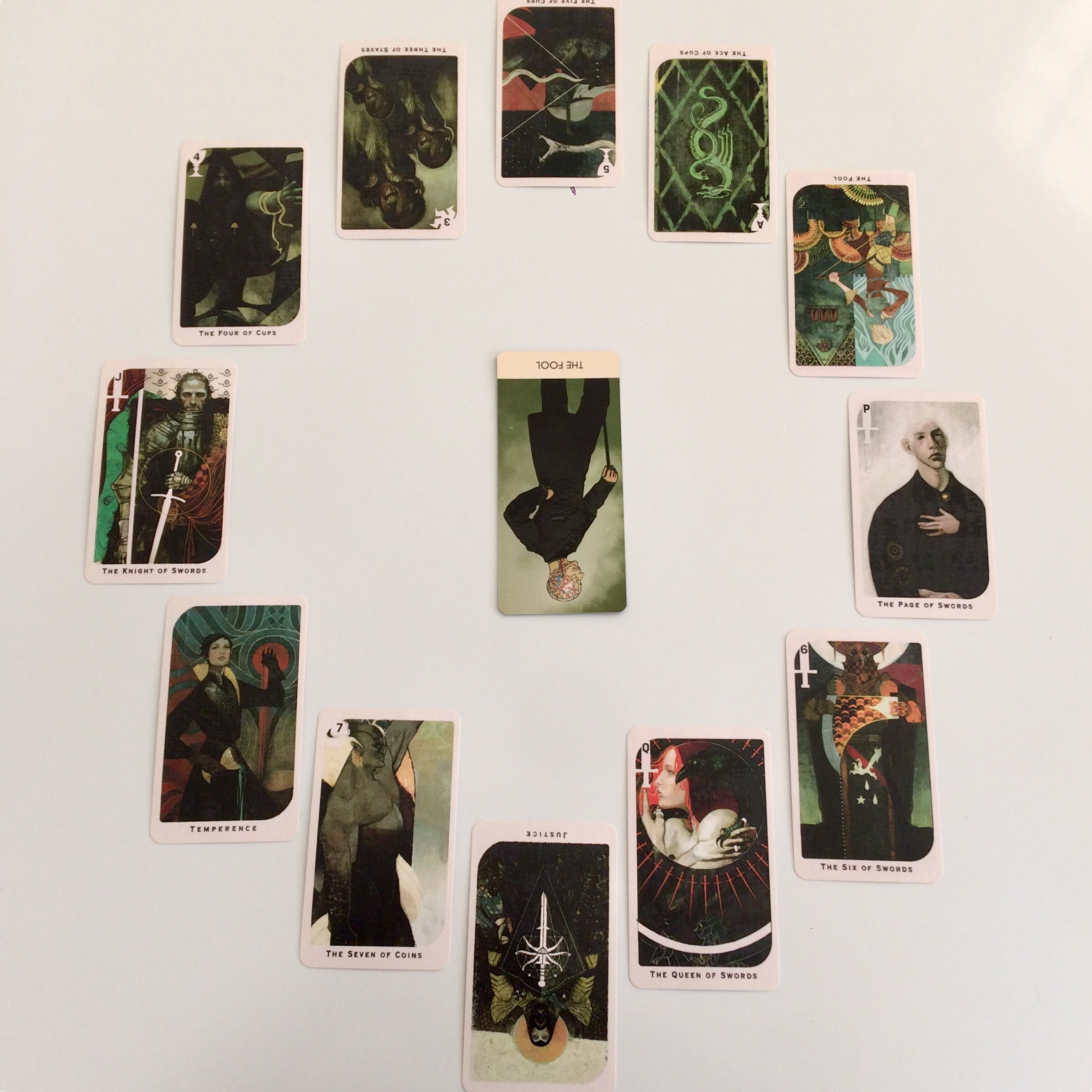 Astrological spread with  A Wicked Pack of Cards  and Dragon Age Inquisition Tarot
