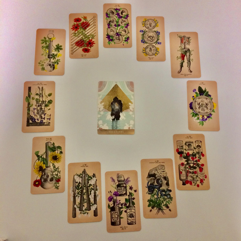 Astrological spread with Antique Anatomy Tarot - Ephemera Edition and  The Moonchild Tarot
