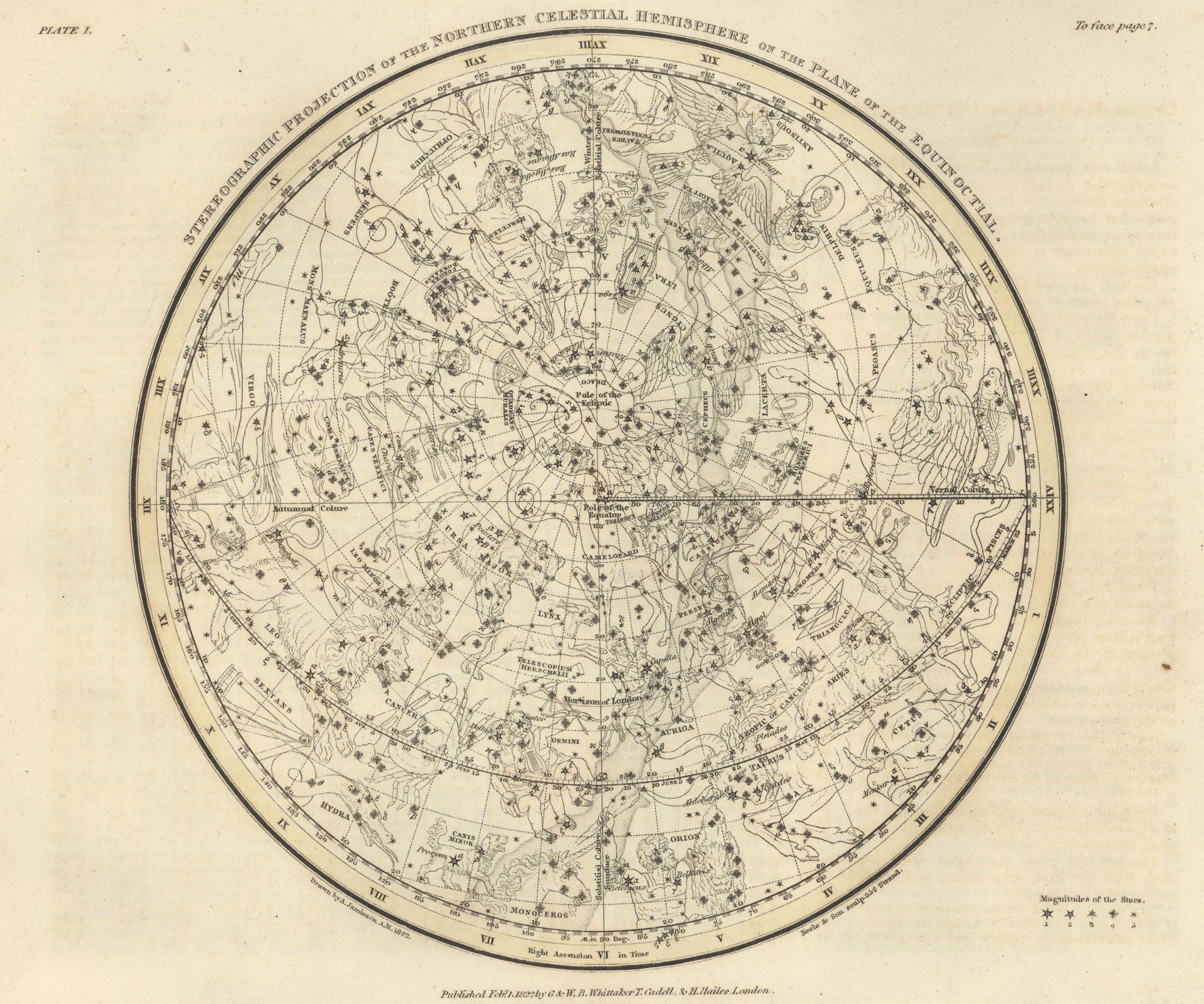 Celestial Atlas, Plate 1: Northern Hemisphere, by Alexander Jamieson
