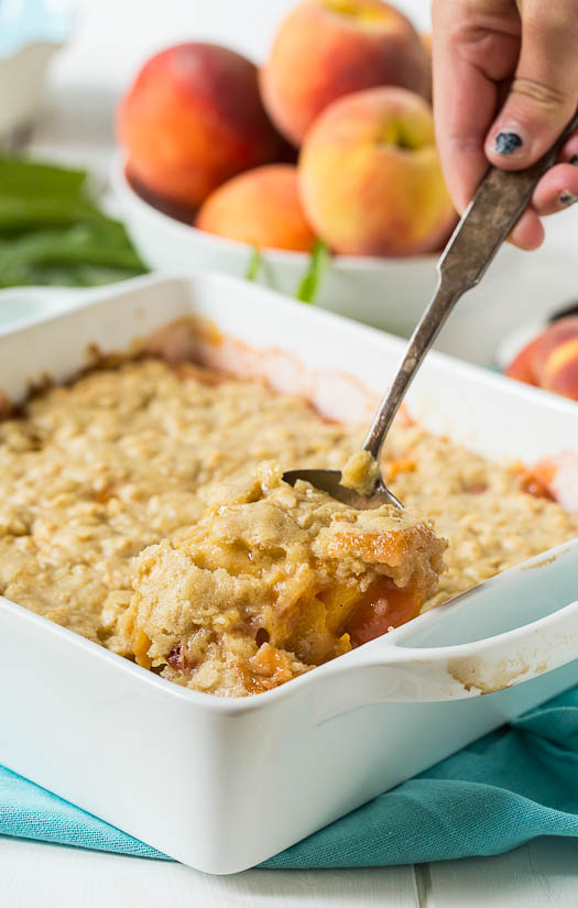 Peach cobbler is another summer essential, but the geniuses behind Spicy Southern Kitchen thought of the idea of topping the dish with oats! How can you go wrong? The best way to describe this dessert is like dipping an oatmeal cookie into a peach cobbler, yum. Recipe  here .