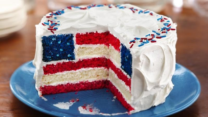 This patriotic cake just screams crowd pleaser. It takes a bit of prep time, but will be the highlight of your party. Betty Crocker has the recipe  here .