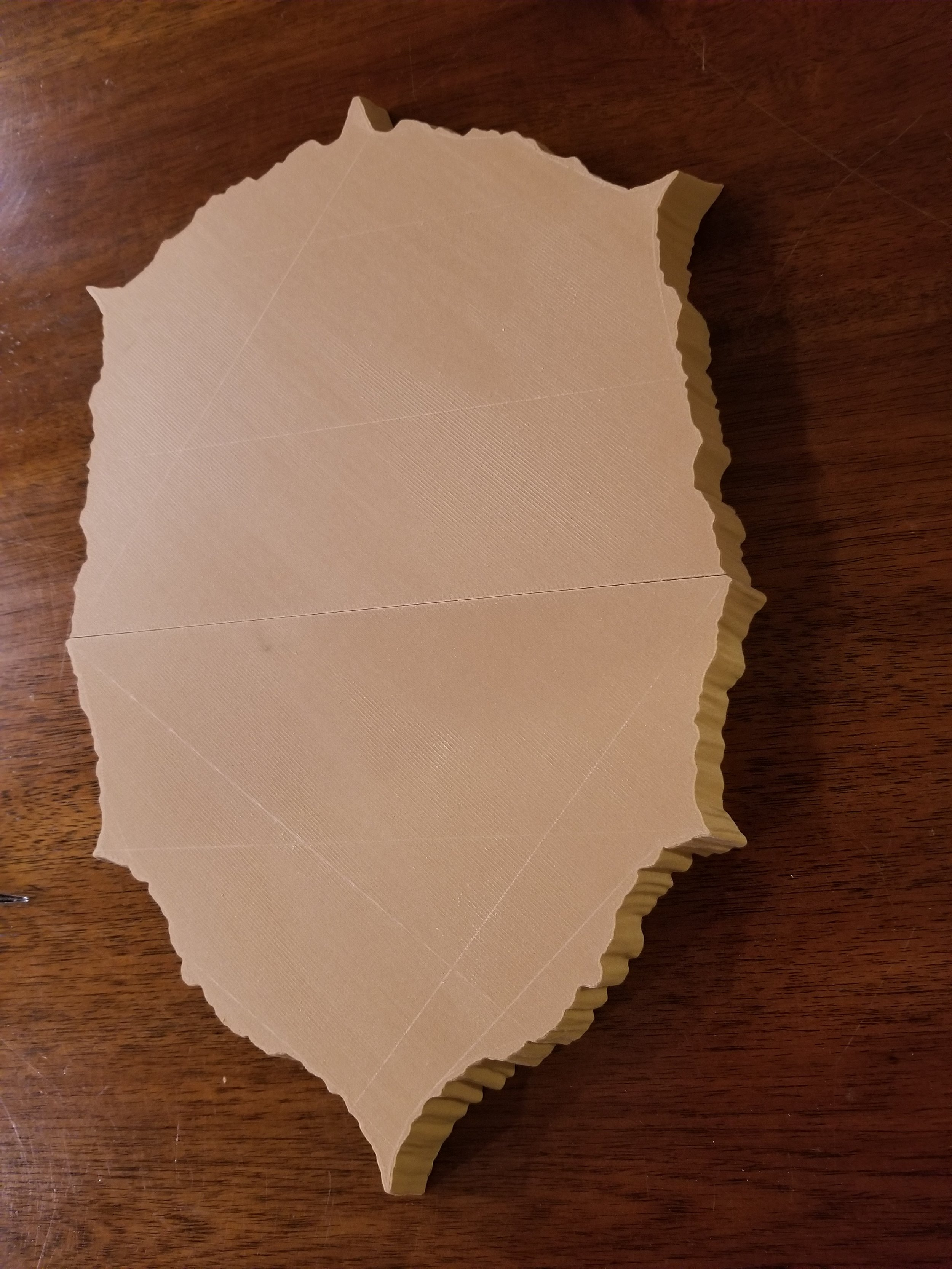 The trophy mount freshly printed (needs sanding and staining)