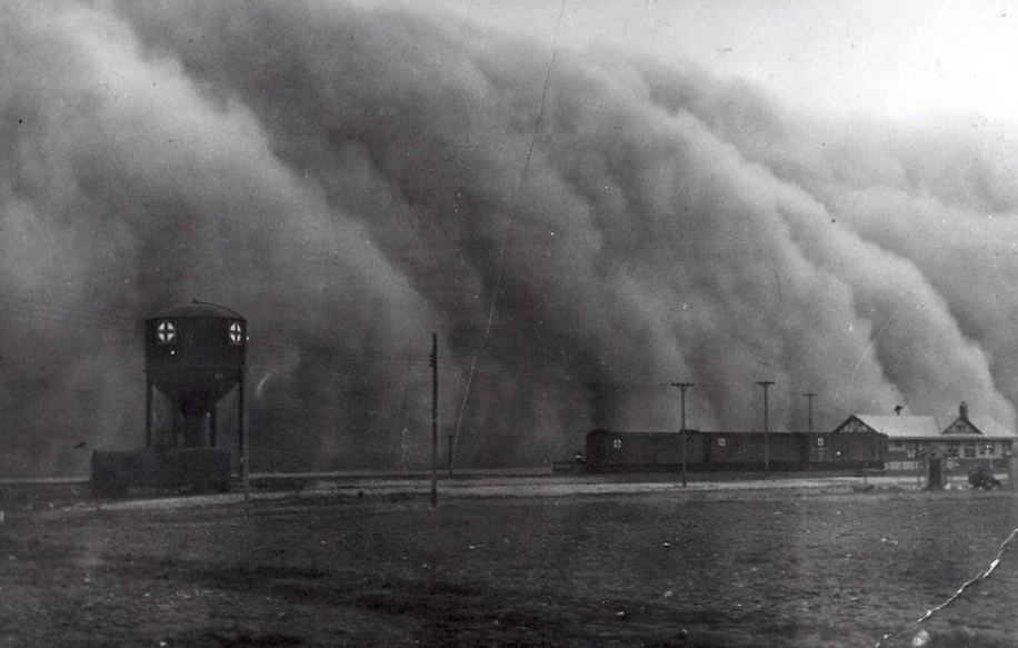 1930's Dust Bowl storm over author's hometown, Clayton, New Mexico